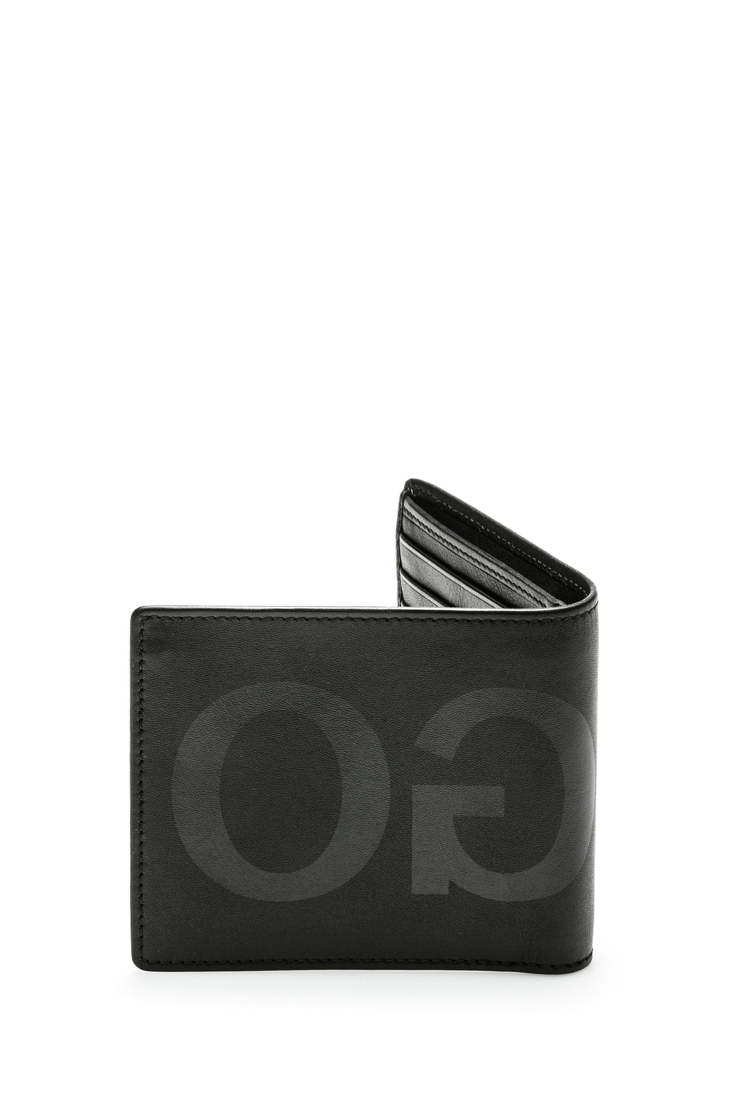 Eight-card leather billfold wallet with tonal reverse logo