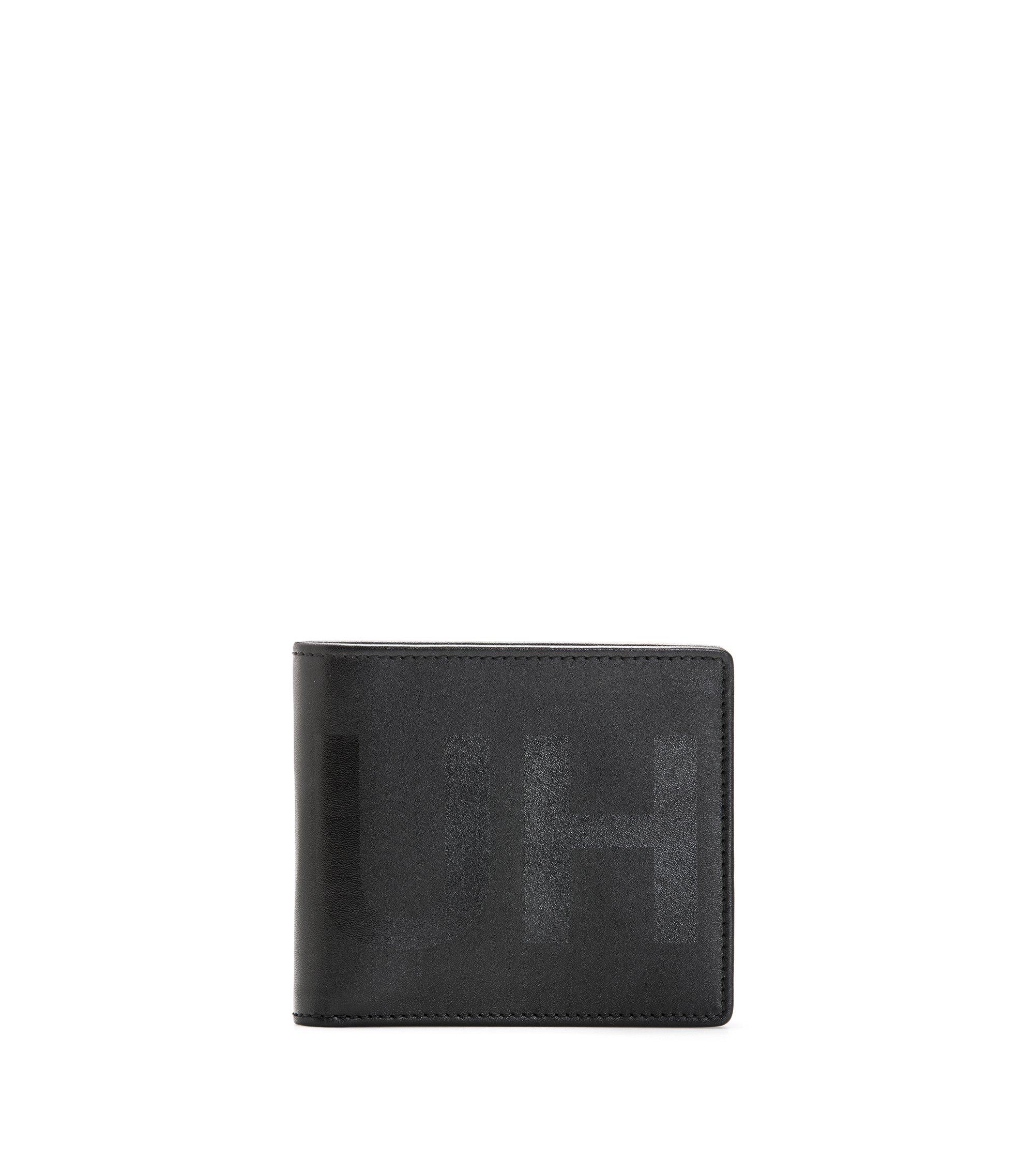 Portafoglio bi-fold in pelle con portamonete e logo a rovescio, Nero