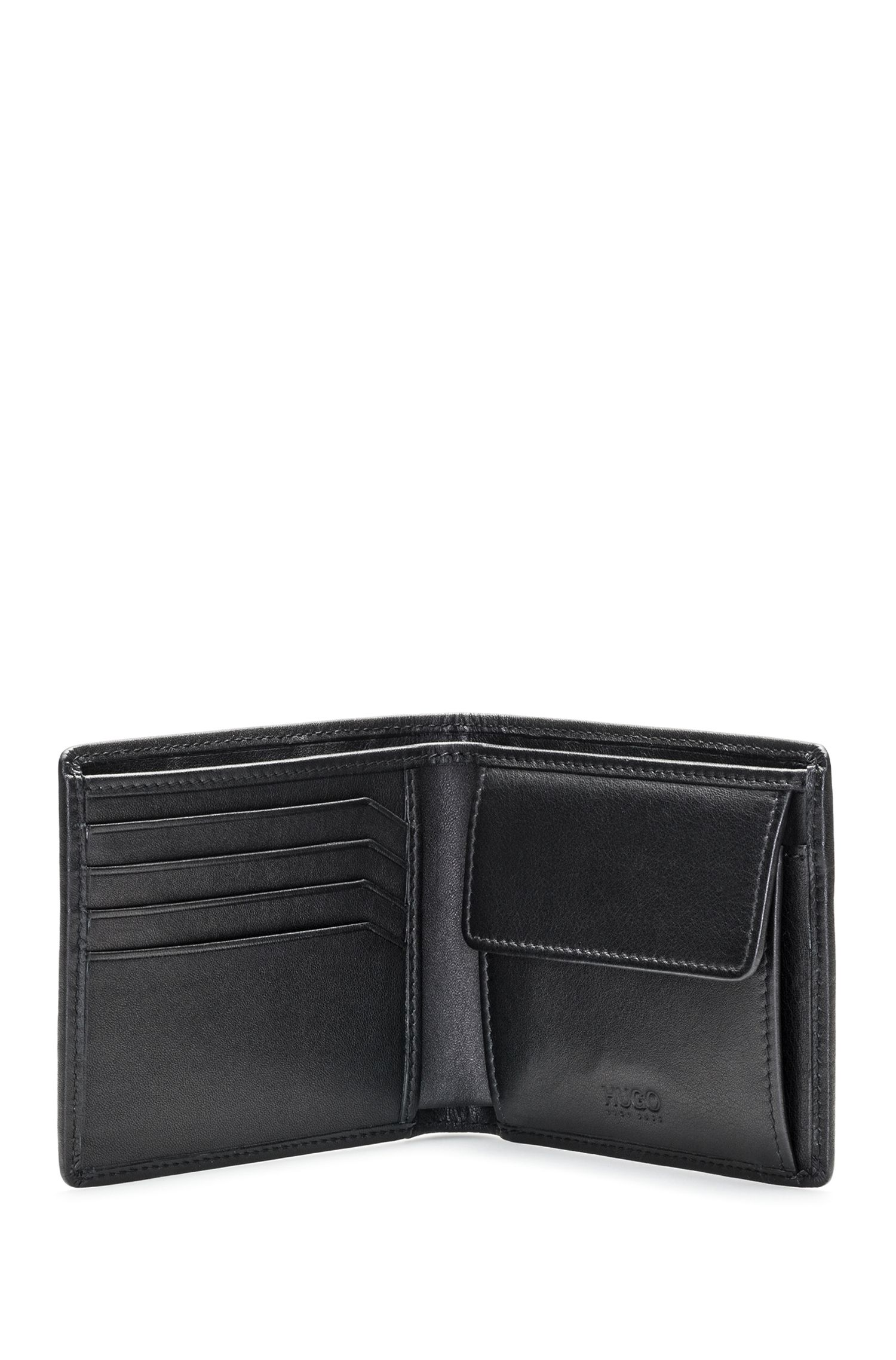 Leather billfold wallet with coin pouch and reverse logo