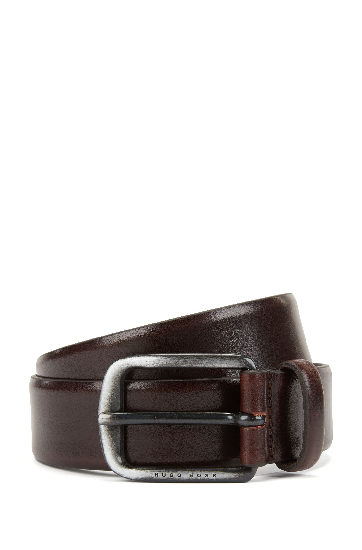 Smooth leather belt with brushed-metal hardware, Dark Brown