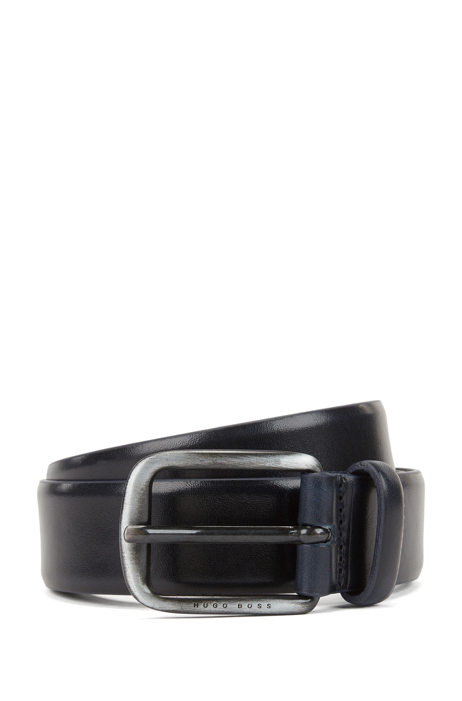 Smooth leather belt with brushed-metal hardware, Dark Blue