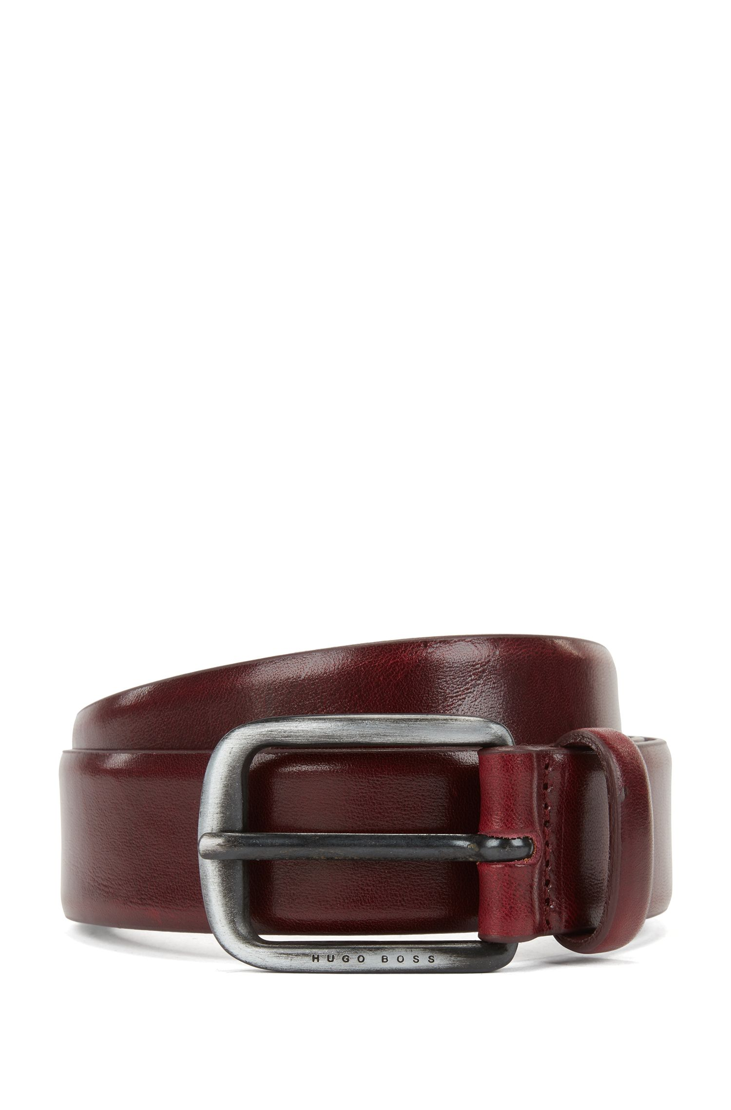 Smooth leather belt with brushed-metal hardware, Red
