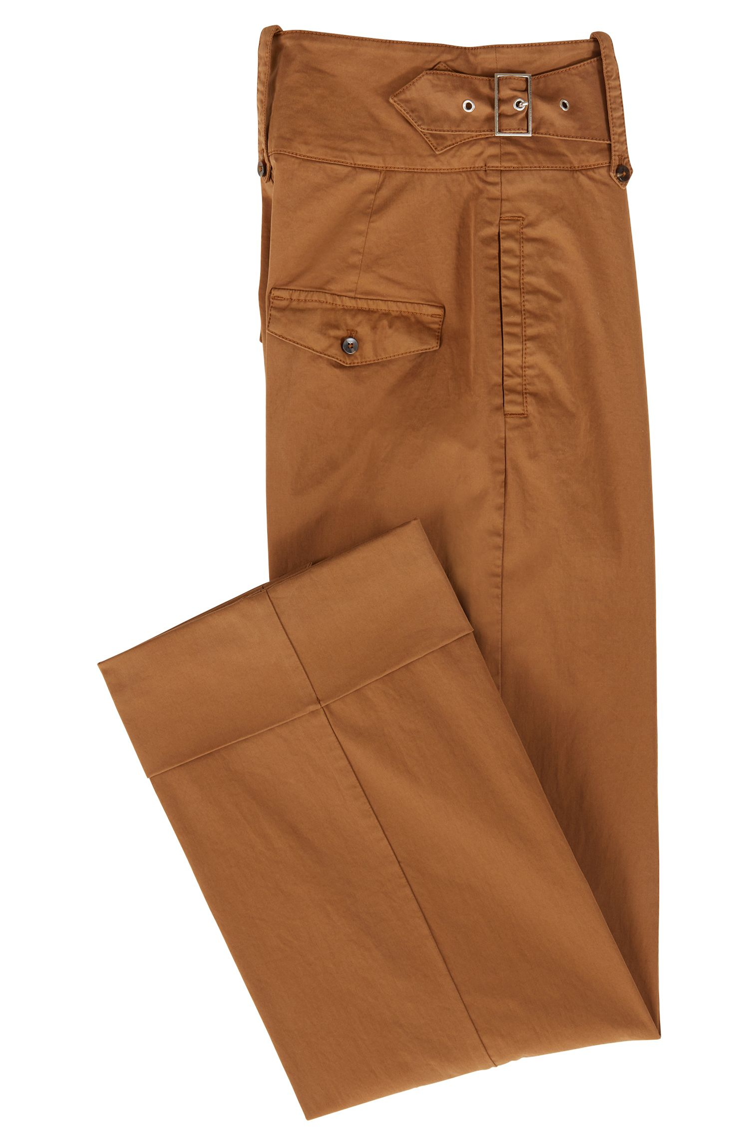 Pantalones regular fit con pernera ancha y detalle de cinturón, Marrón