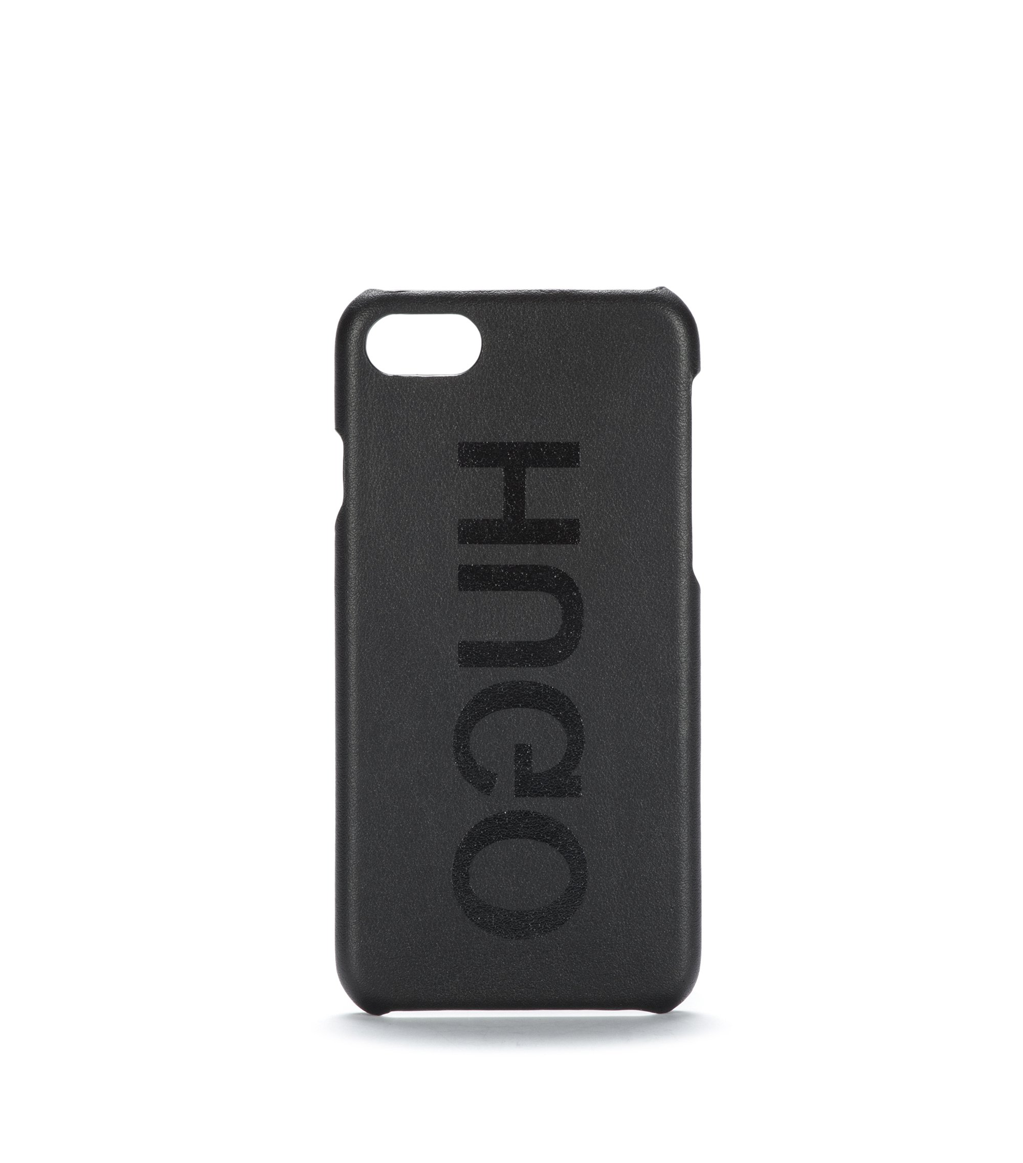 Funda de iPhone 8 en piel italiana con logo invertido, Negro