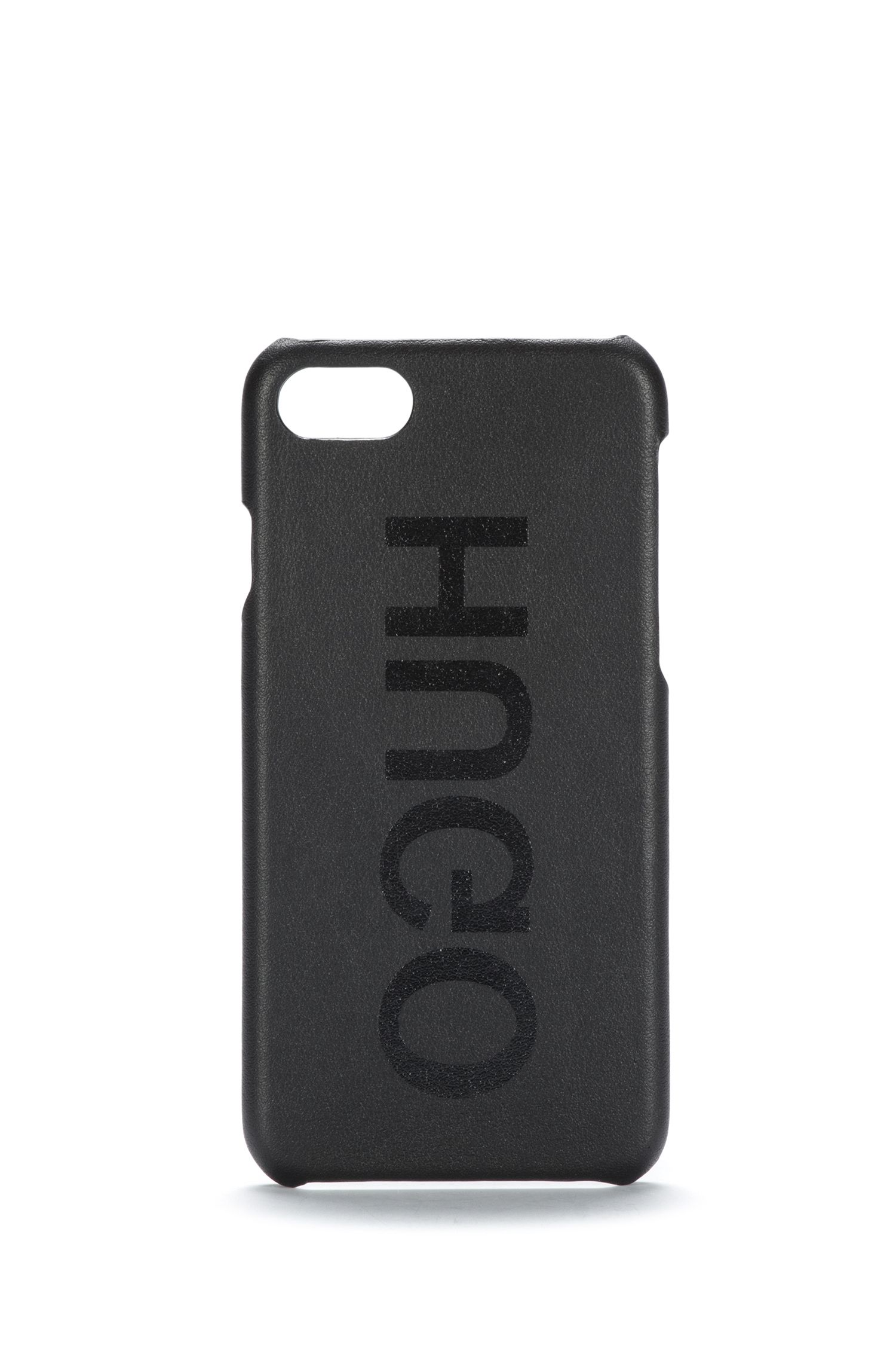 Reverse-logo iPhone 8 case in Italian leather, Black