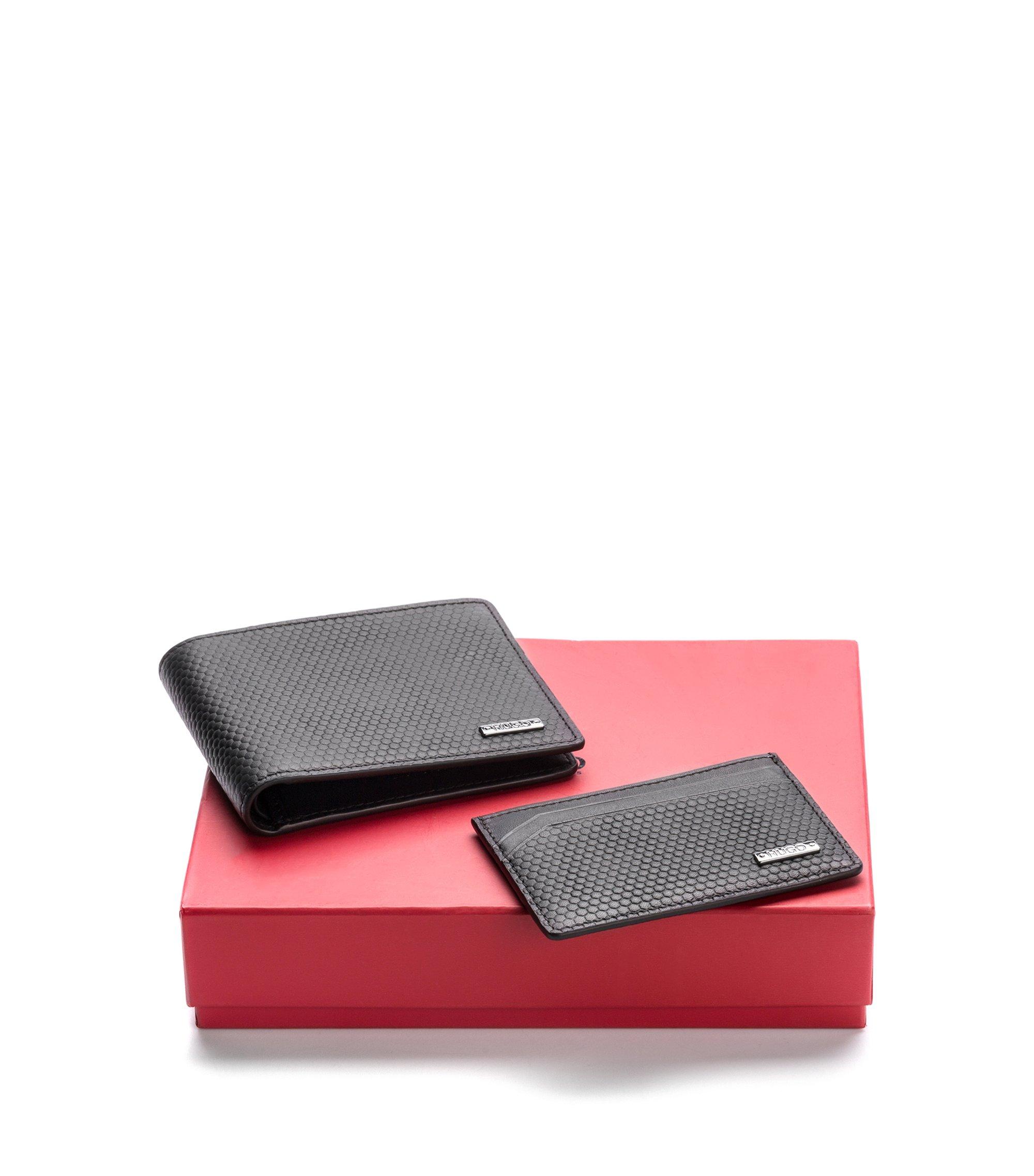 Set mit Kartenetui und Geldbörse aus geometrisch geprägtem Leder, Schwarz