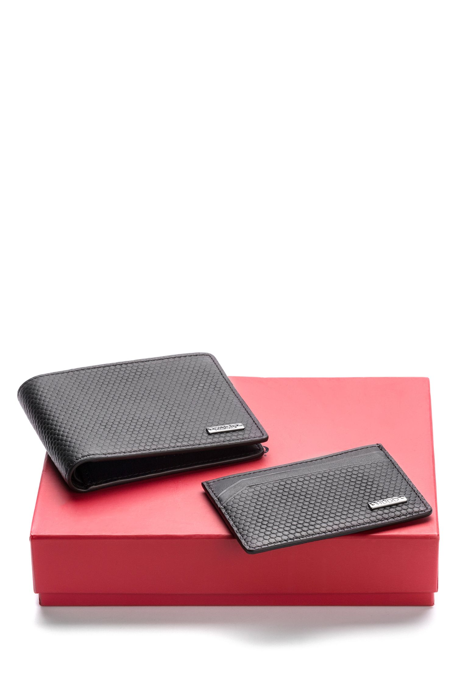 Leather wallet and card case with geometric embossing, Black