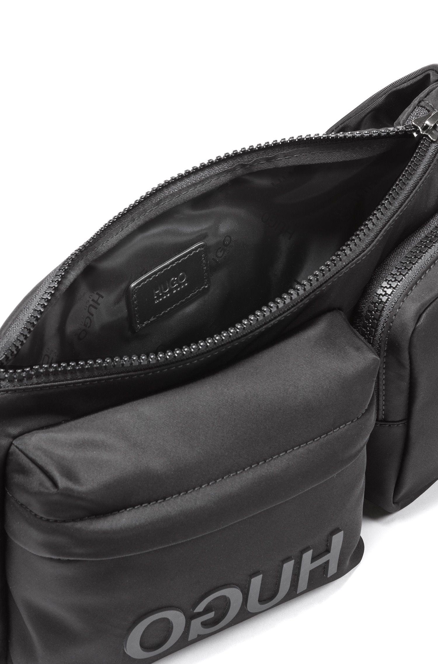 Reversed-logo belt bag in nylon gabardine