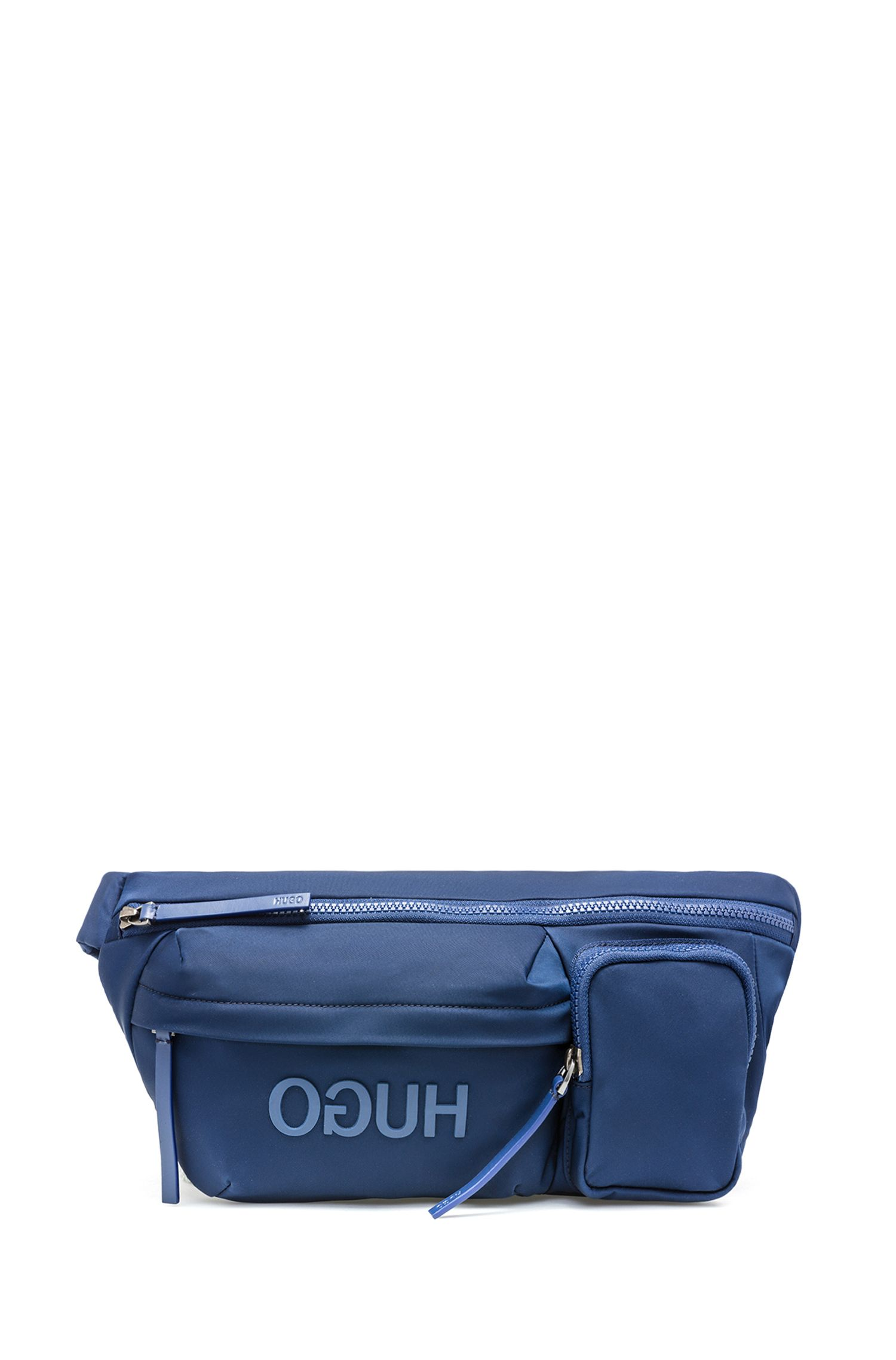 Reversed-logo belt bag in nylon gabardine, Dark Blue