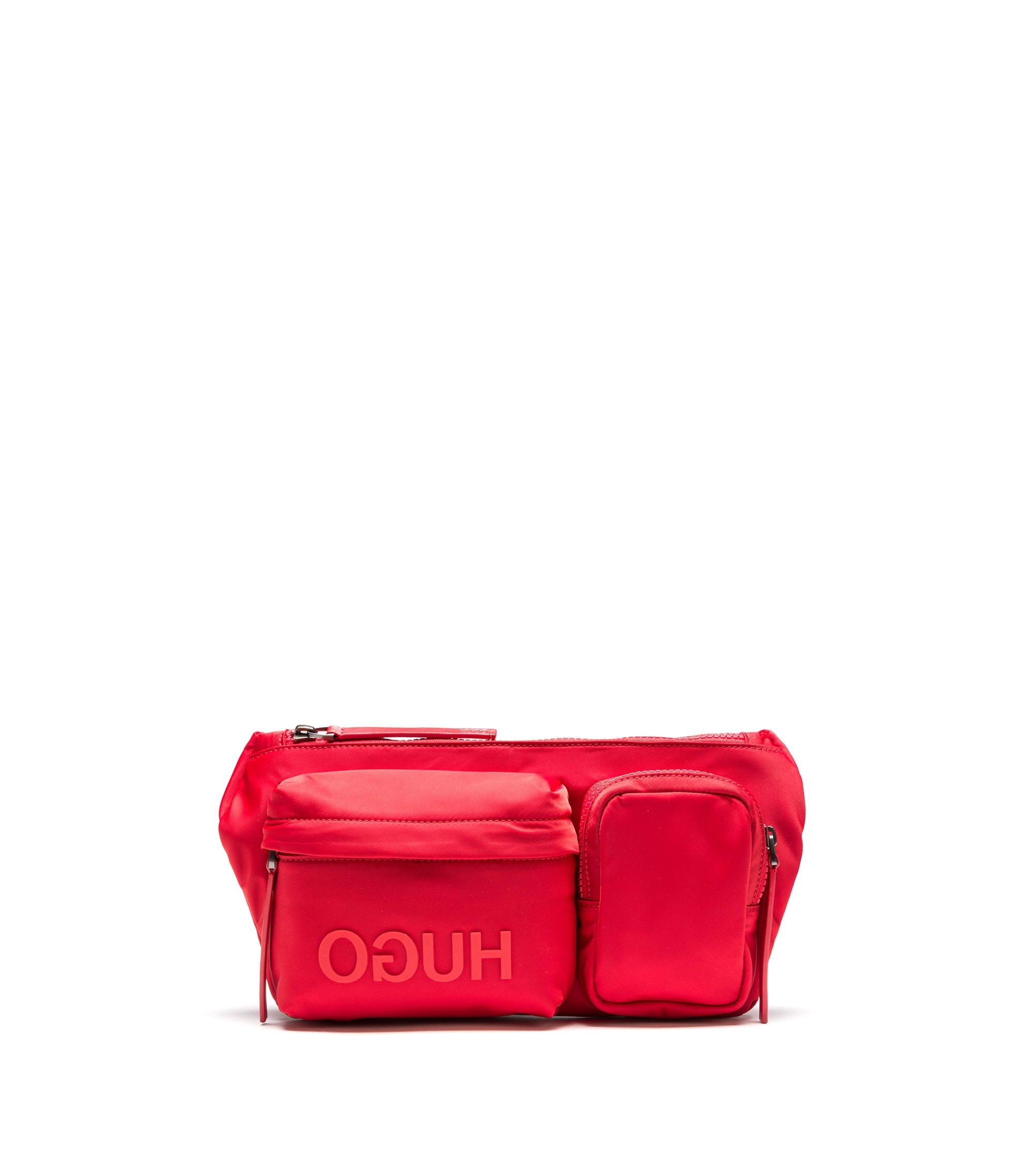 Buideltas in een gabardine van technisch materiaal met gespiegeld logo, Rood