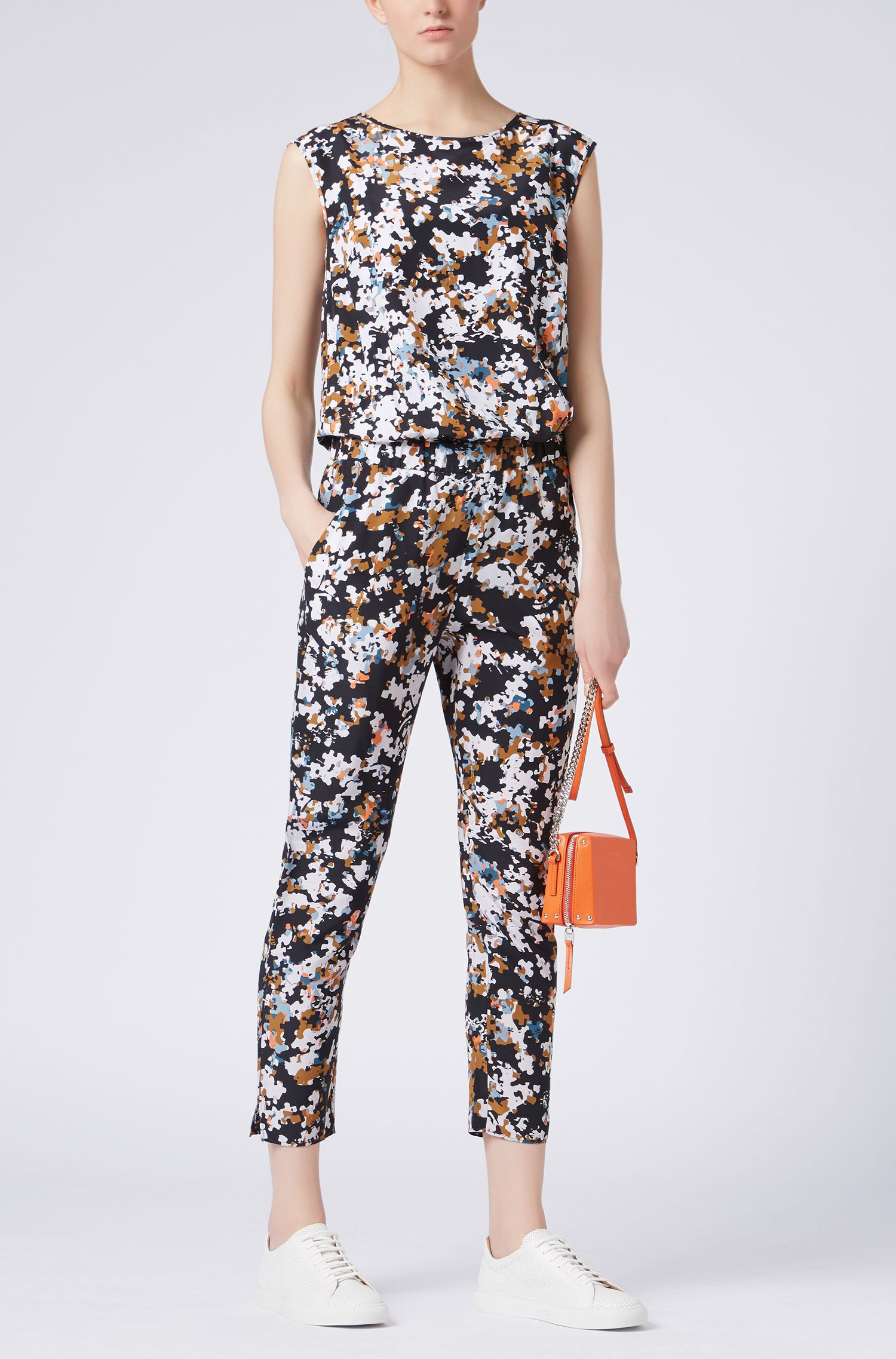 Zijden jumpsuit met all-over-puzzelprint