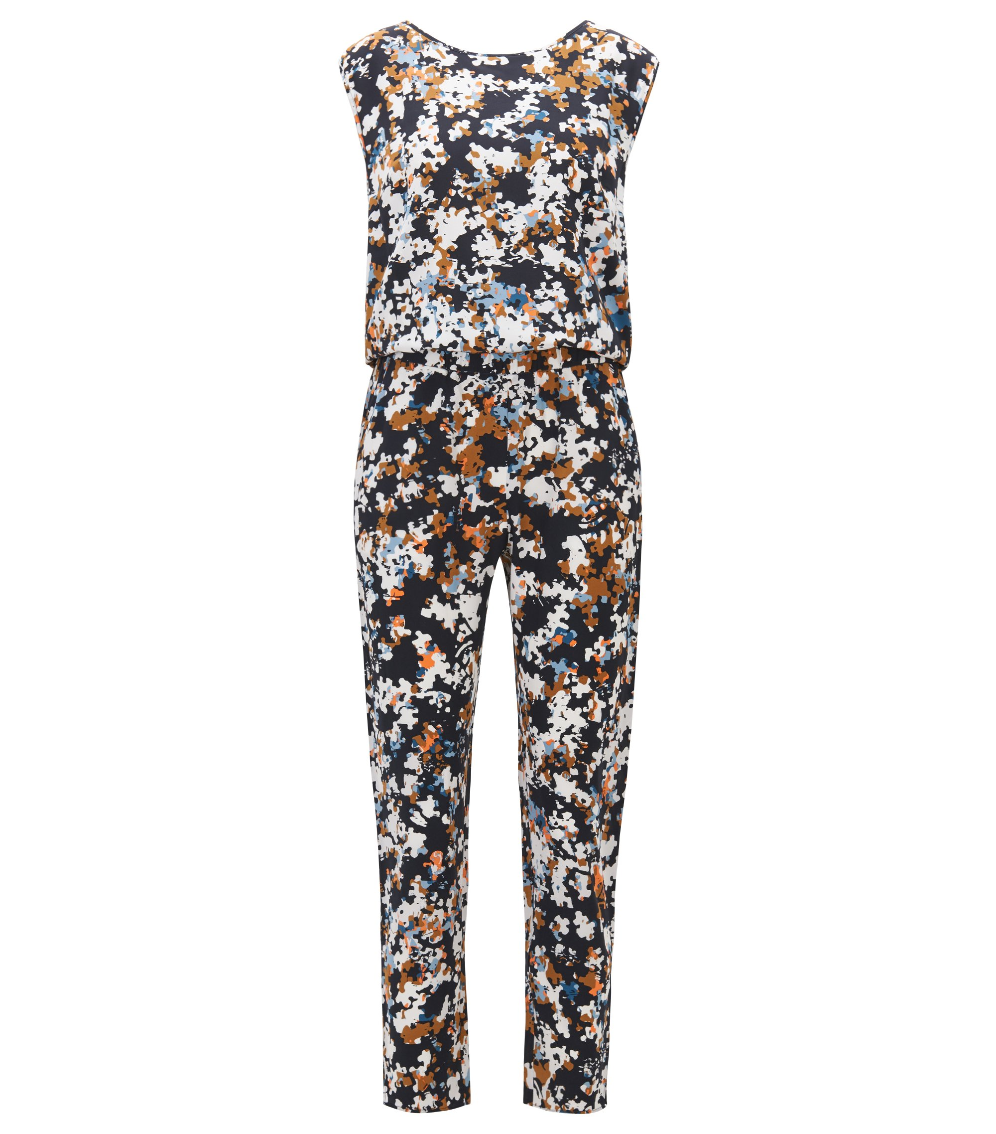 Zijden jumpsuit met all-over-puzzelprint, Bedrukt