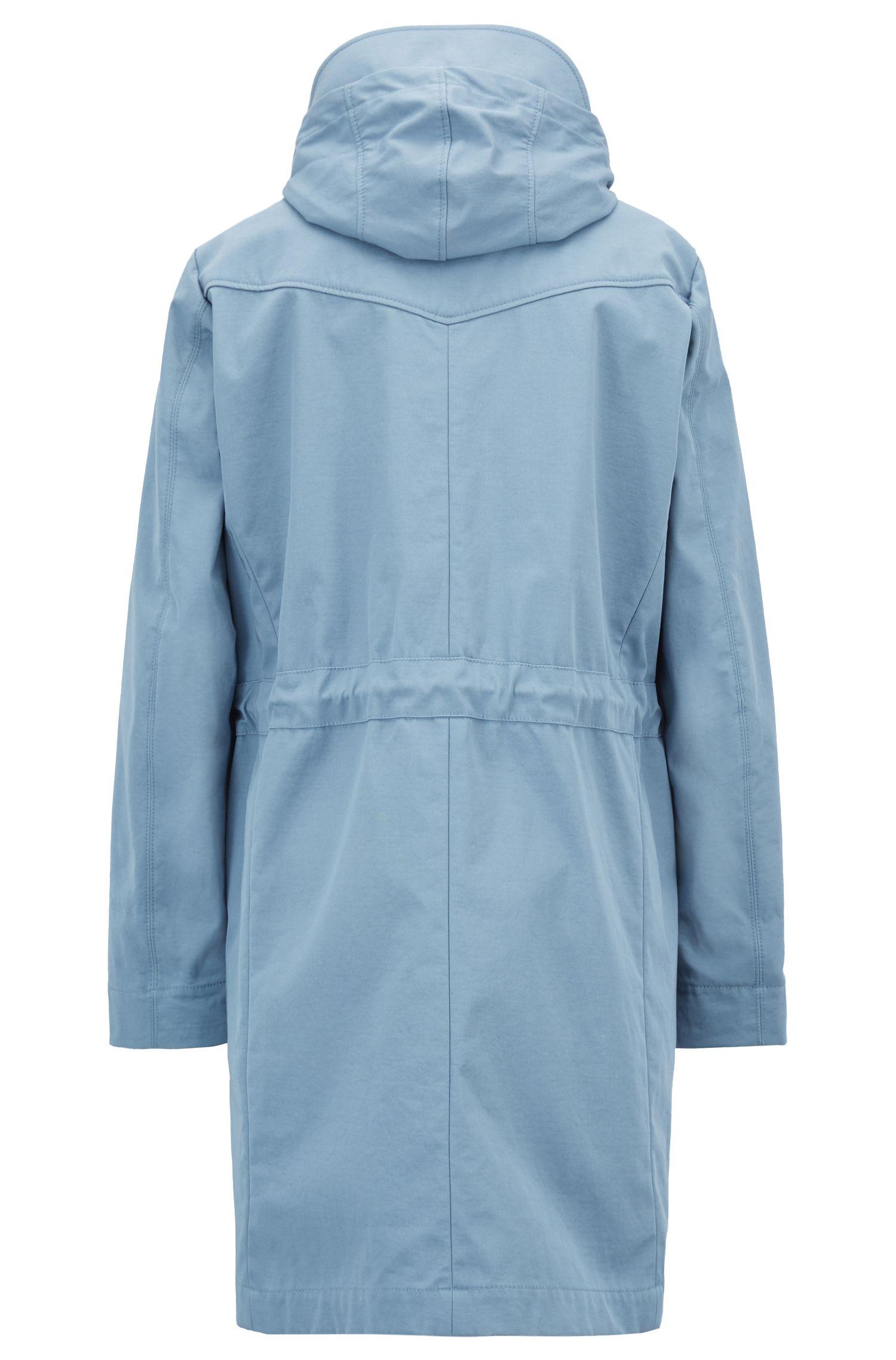 Parka con capucha en tejido de mezcla de algodón repelente al agua