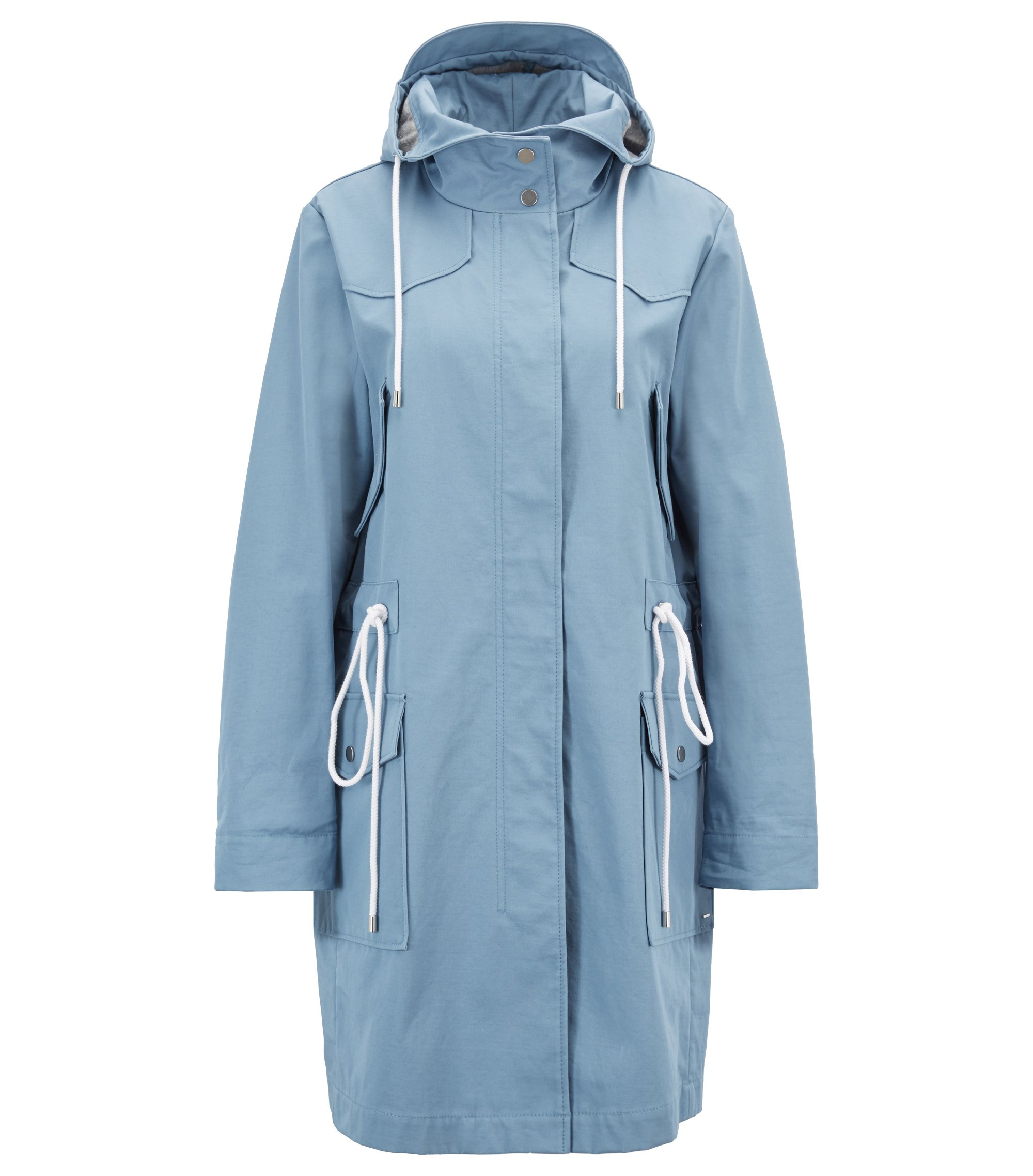 Hooded parka in a water-repellent cotton-blend fabric, Light Blue