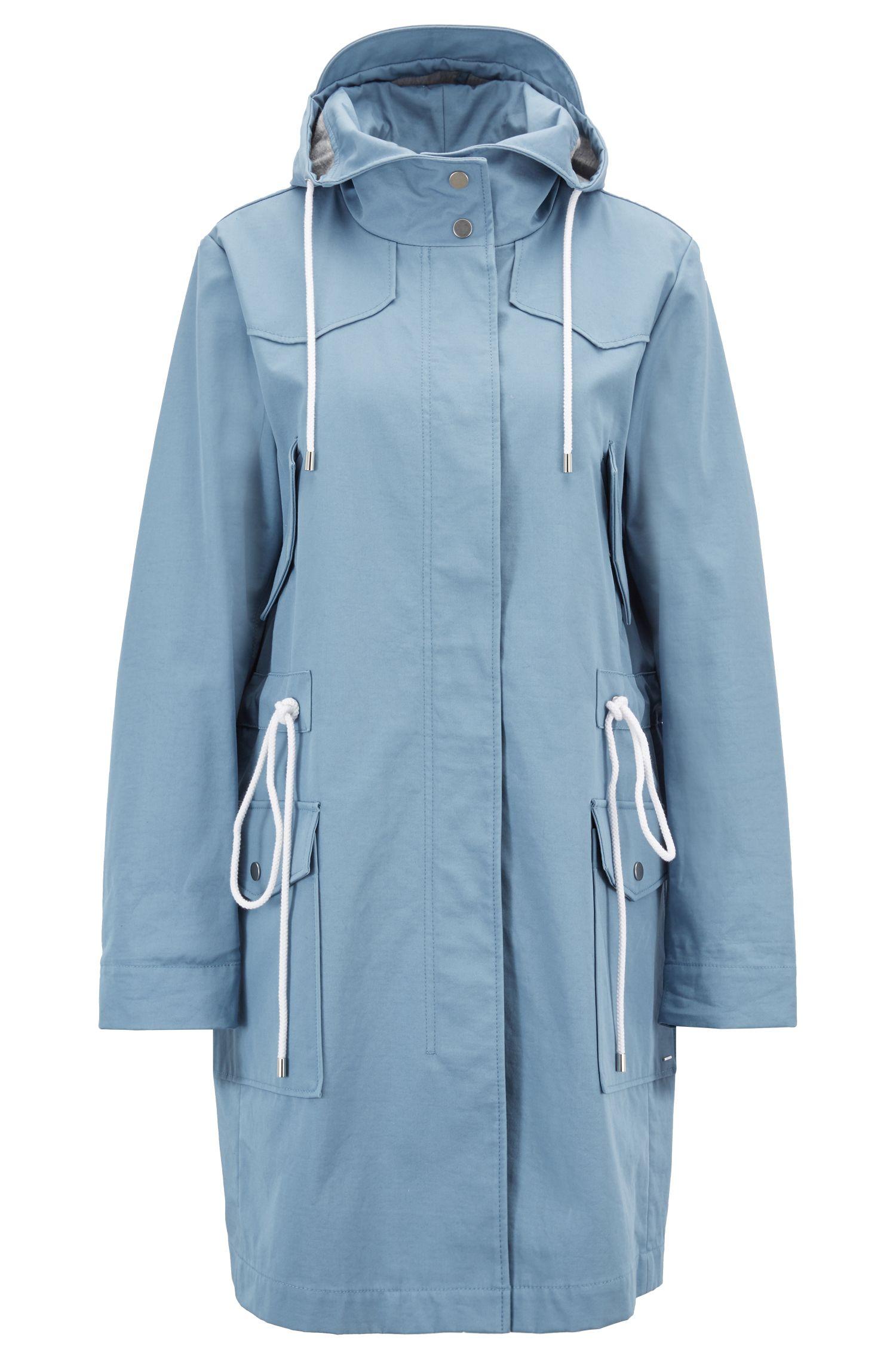 Parka à capuche en tissu de coton mélangé à la finition déperlante, Bleu vif
