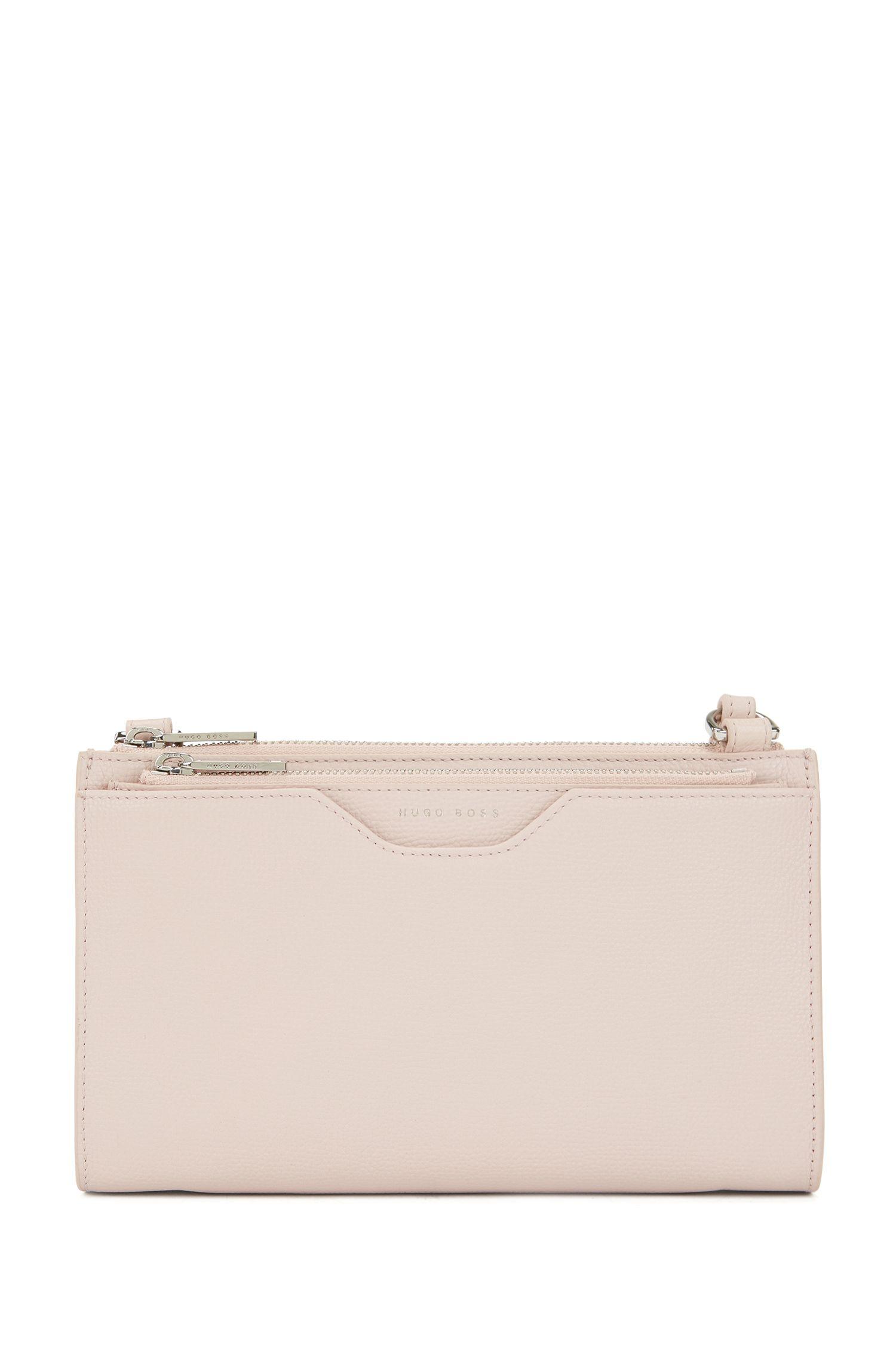 Borsa a tracolla in pelle di vitello realizzata in Italia con borsellino rimovibile, Rosa chiaro
