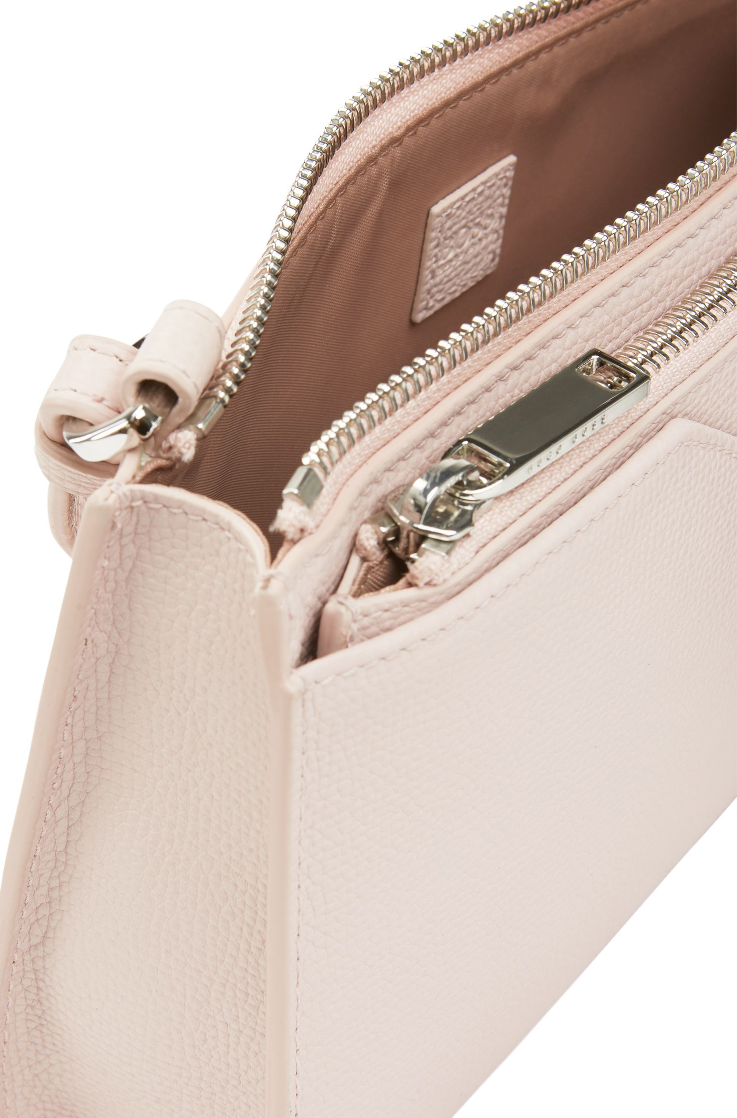 Italian calf-leather shoulder bag with removable pouch, light pink