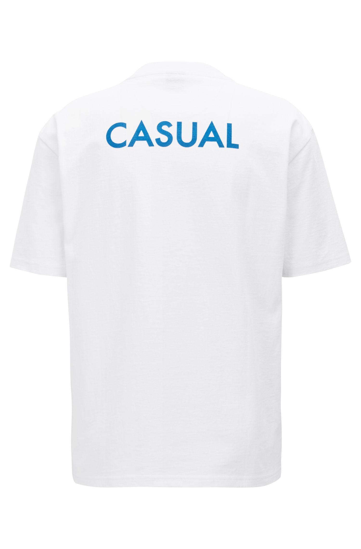 Camiseta relaxed fit con estampado de eslogan flocado