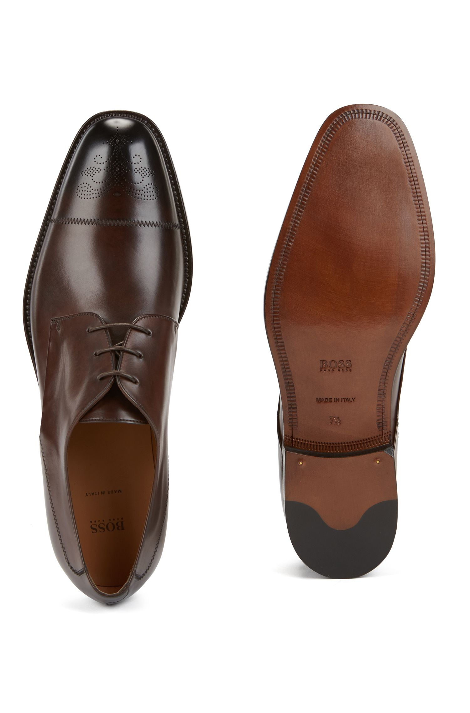 Italian-made Derby shoes in burnished calf leather