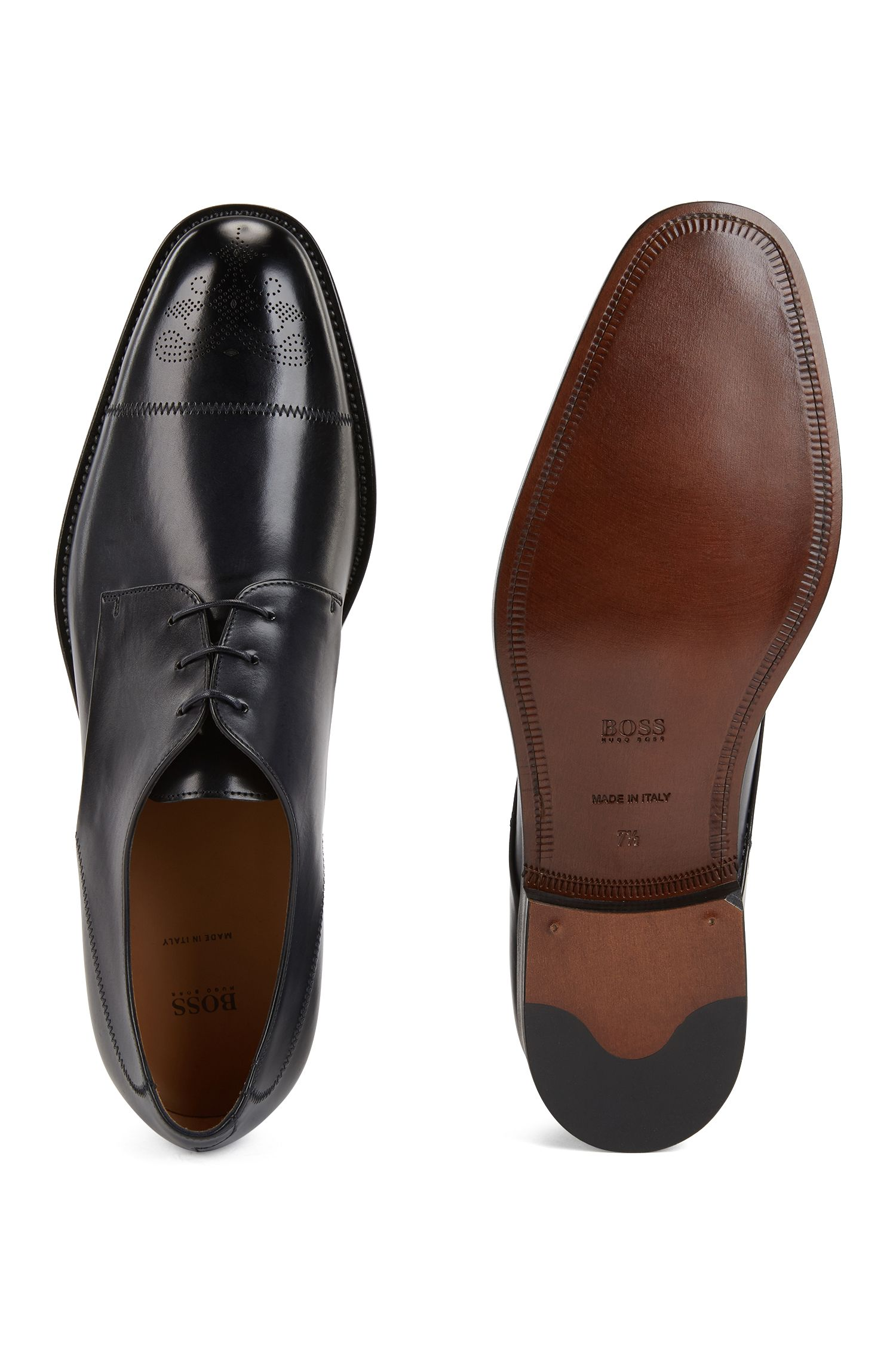 Italian-made Derby shoes in burnished calf leather, Dark Blue