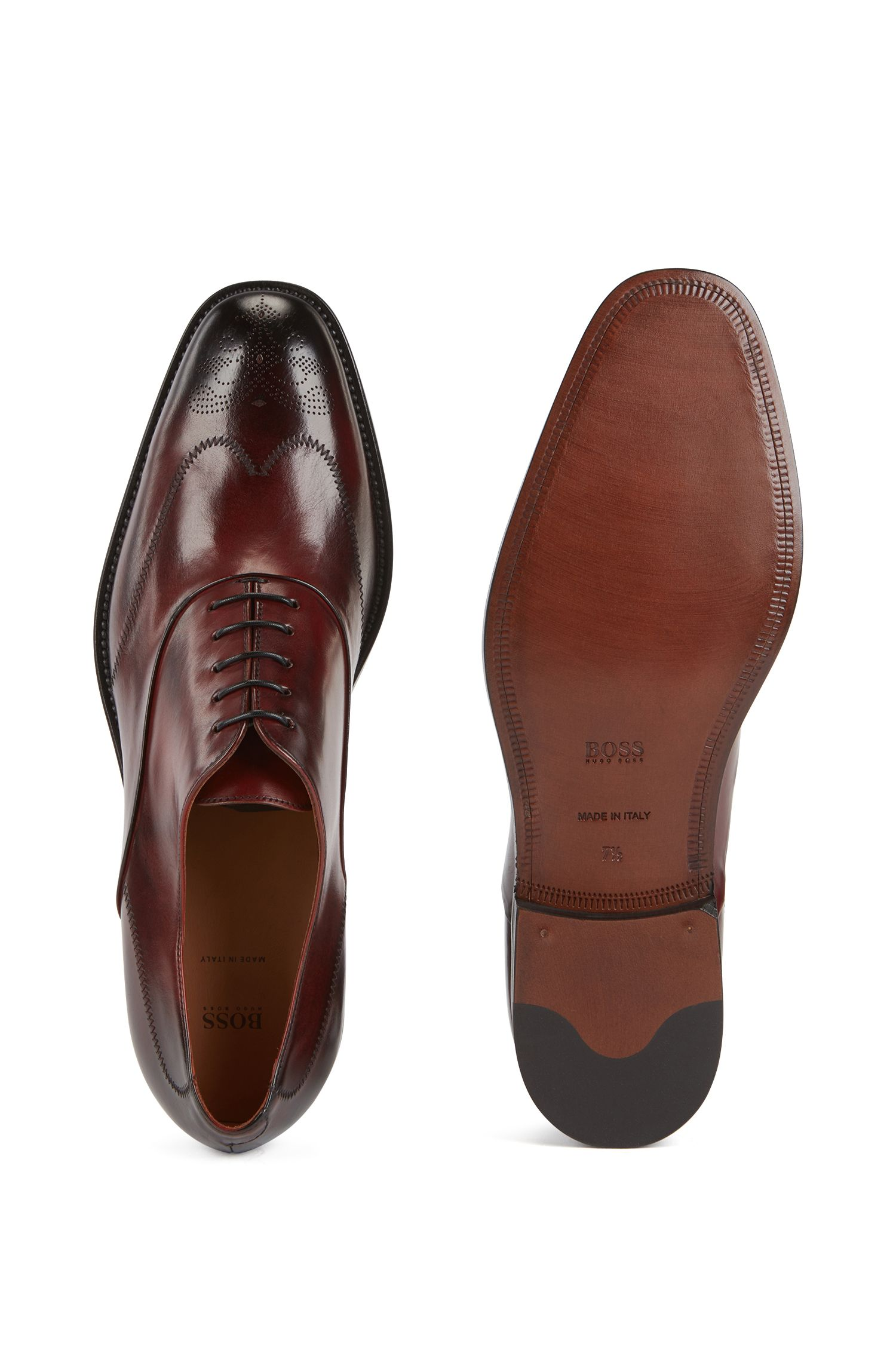 Calf-leather Oxford shoes with laser-cut detailing, Red