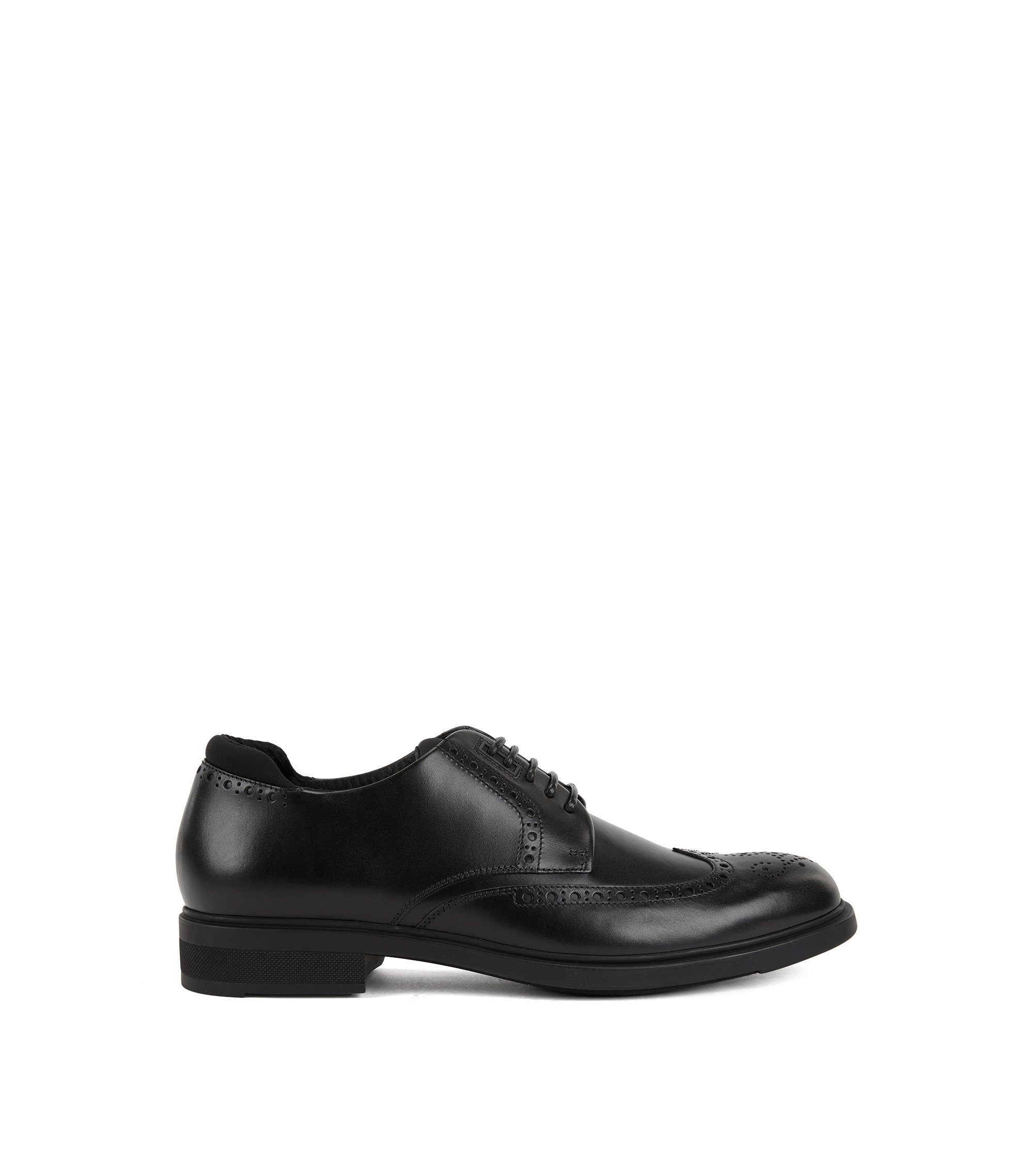 Calf-leather Derby brogue shoes with Outlast® lining, Black