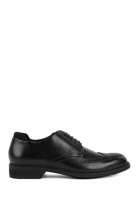 Calf-leather Derby brogue shoes with Outlast lining BOSS E0yLa