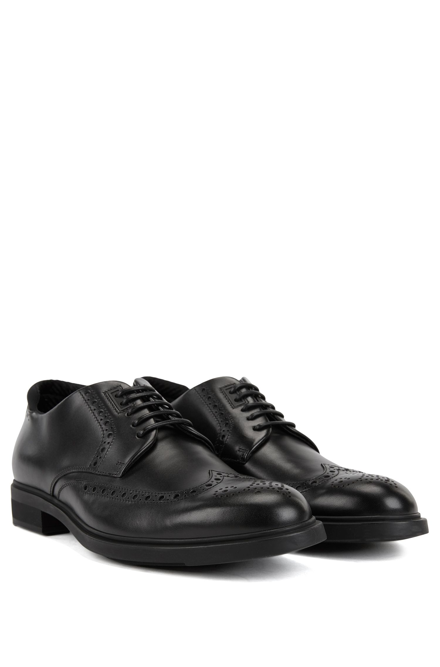 Calf-leather Derby brogue shoes with Outlast lining BOSS