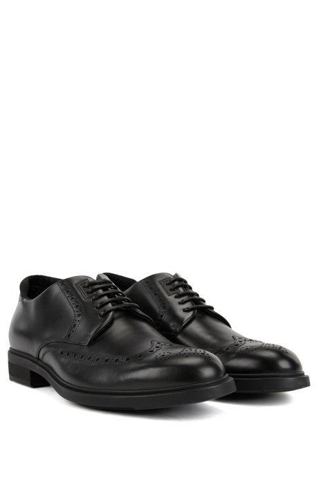 Calf-leather Derby brogue shoes with Outlast lining BOSS 9Ff6AA9dtX