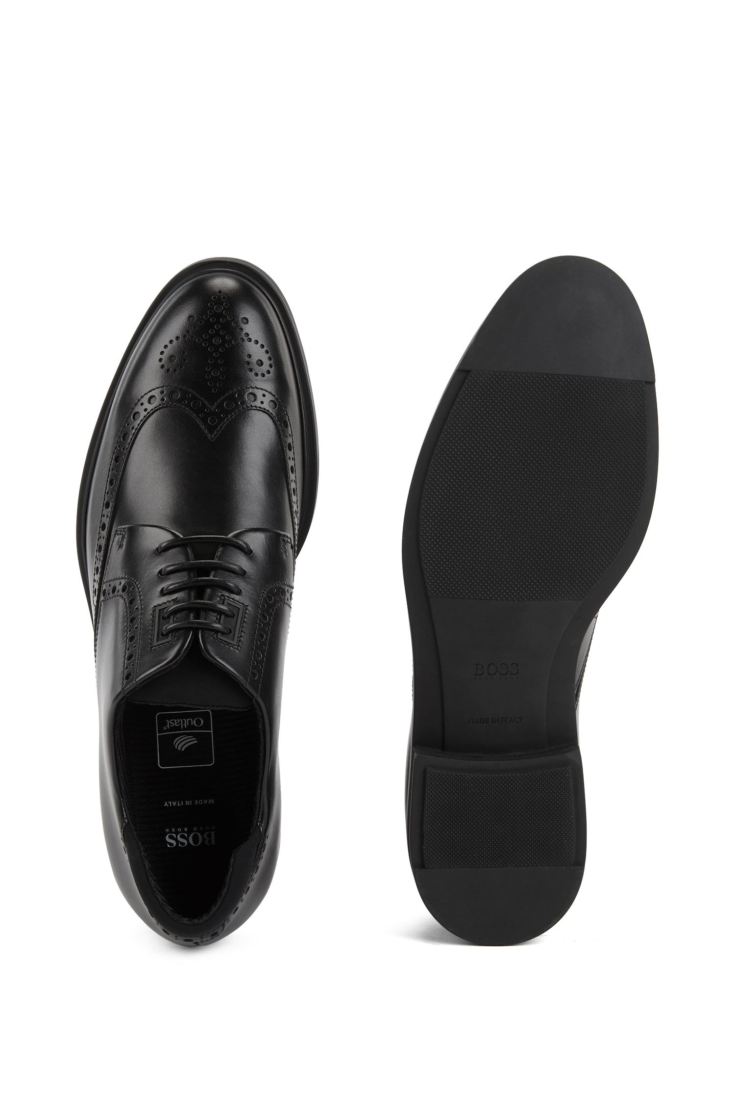 Hugo Boss - Calf-leather Derby brogue shoes with Outlast® lining - 4