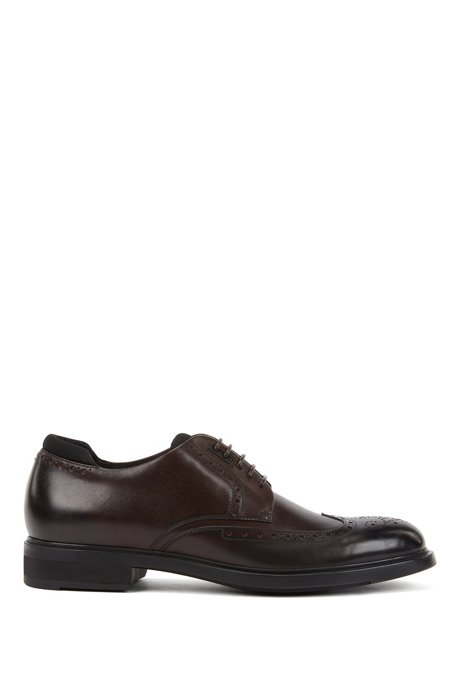 Italian-made Derby brogue shoes with Outlast® lining, Dark Brown