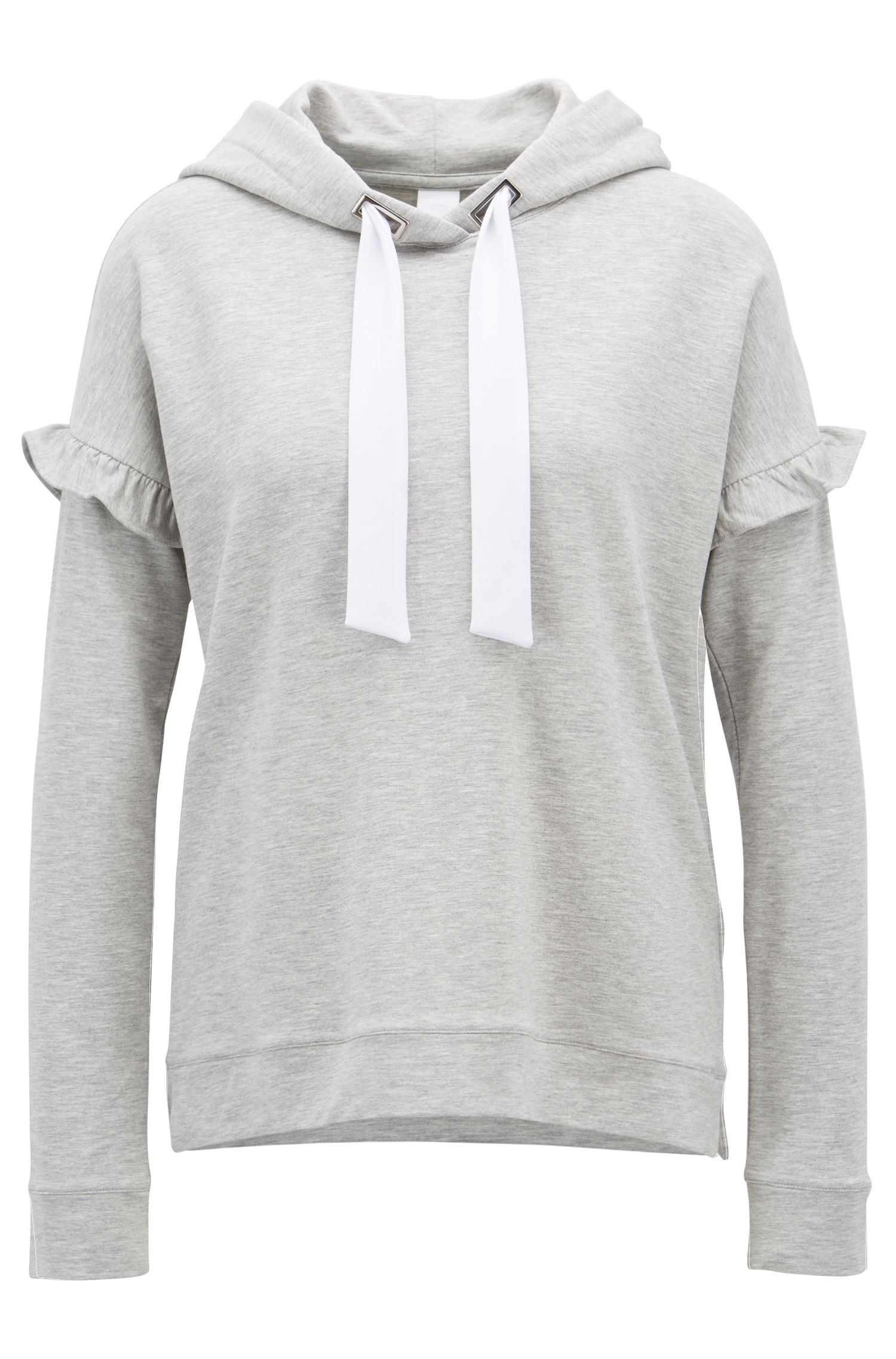 French-terry hooded sweatshirt with ruffle detail, Light Grey