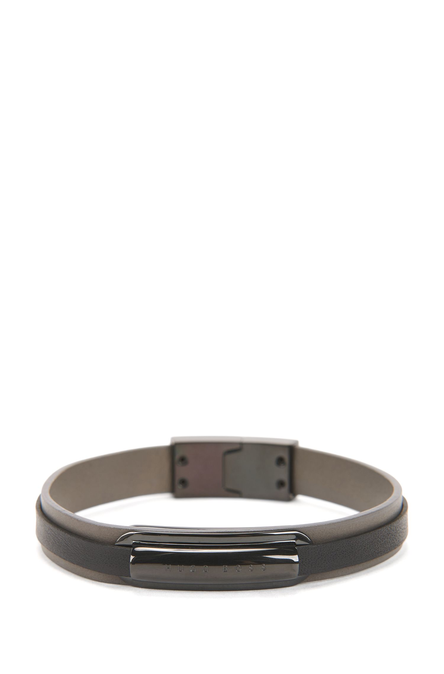 Layered leather bracelet with black-plated logo plate, Dark Grey