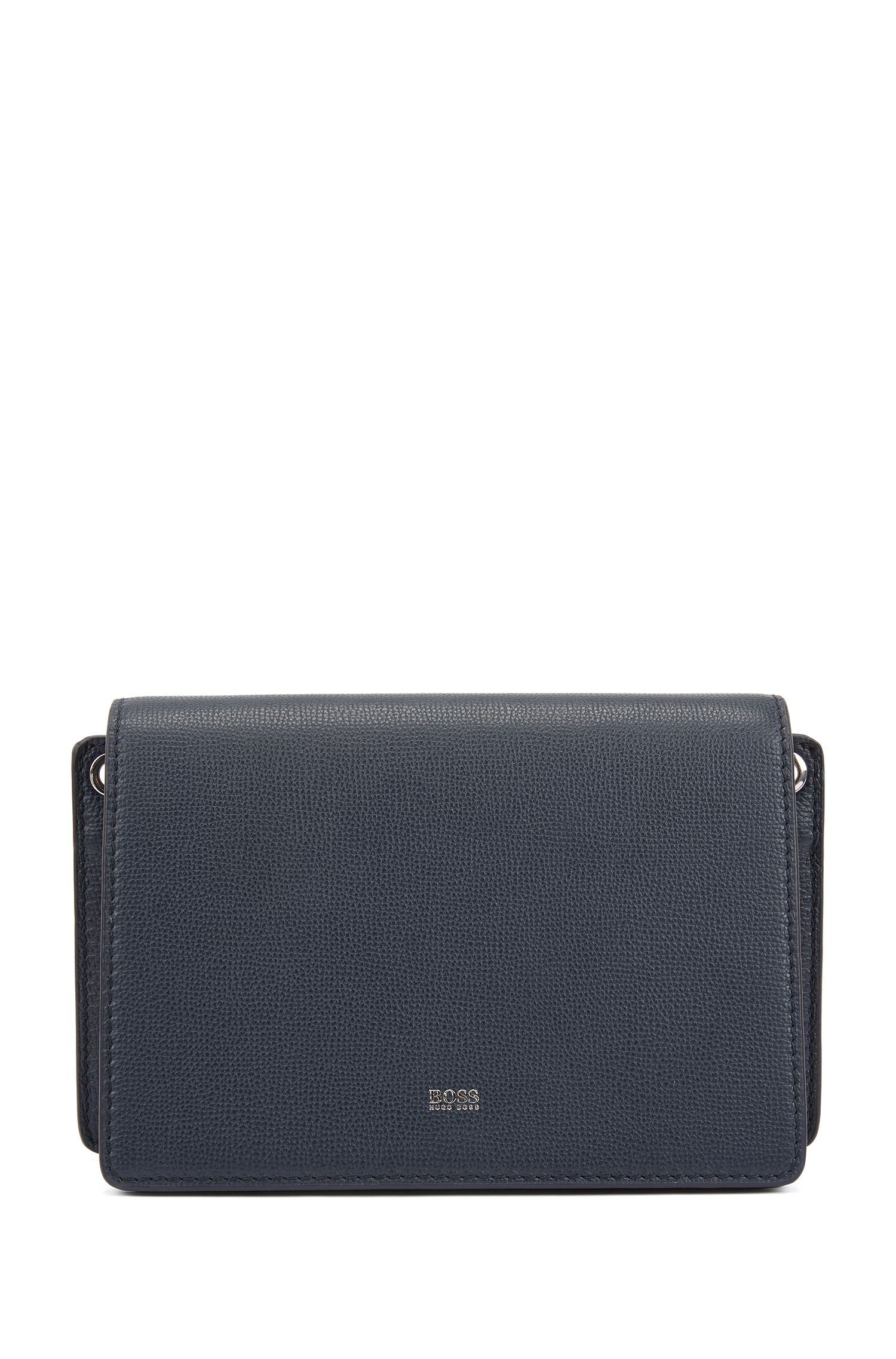 Crossbody bag in grainy Italian leather, Dark Blue