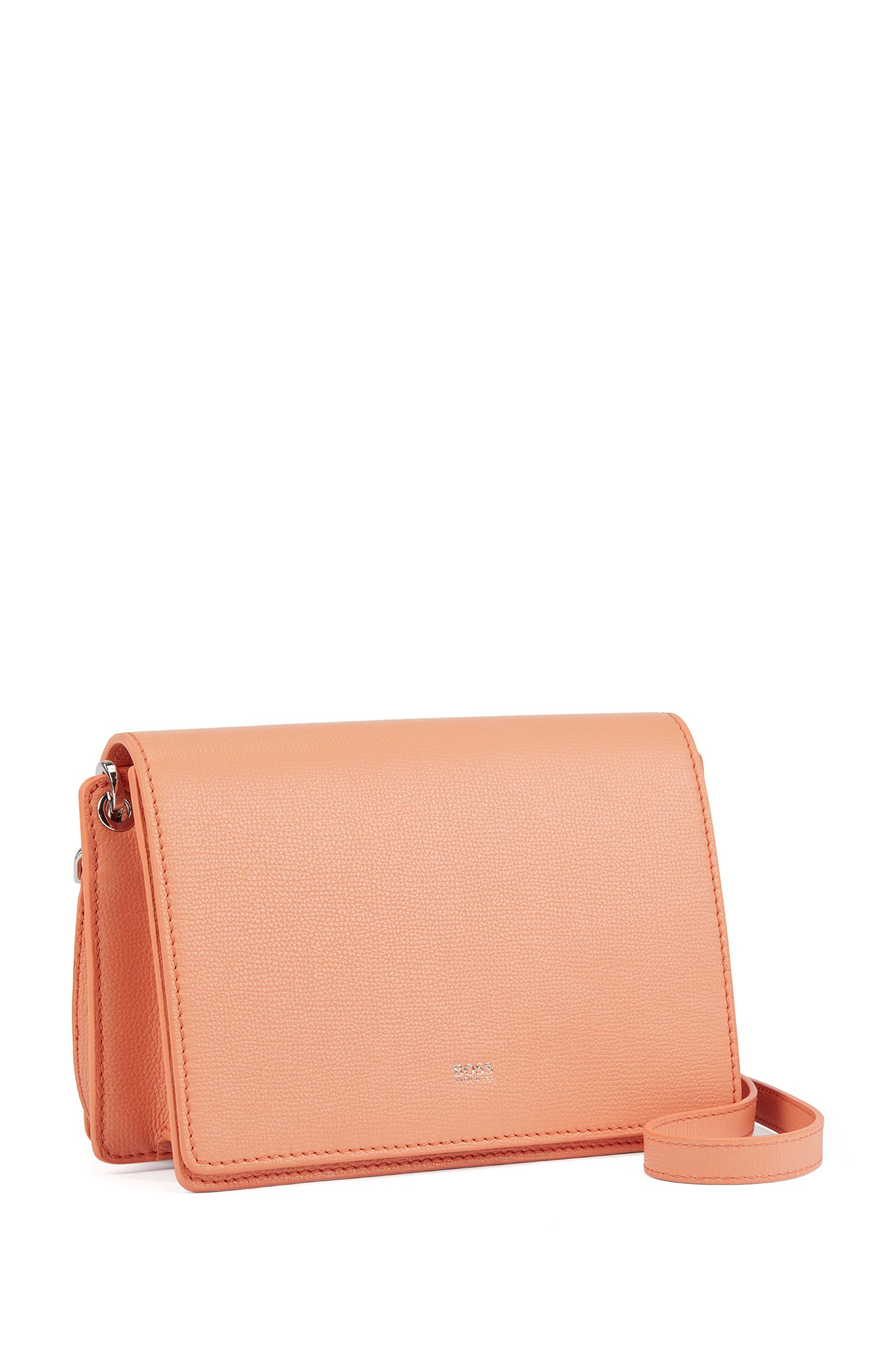 Crossbody bag in grainy Italian leather, Orange