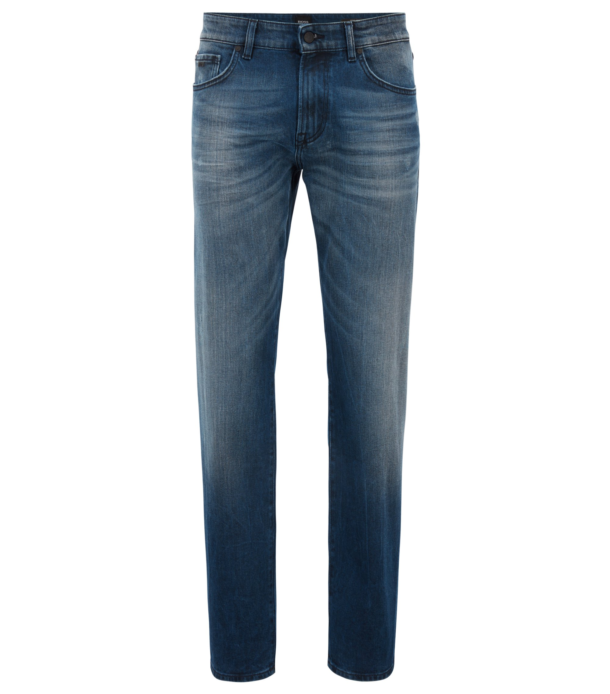 Regular-fit jeans in mid-blue coated stretch denim, Blue