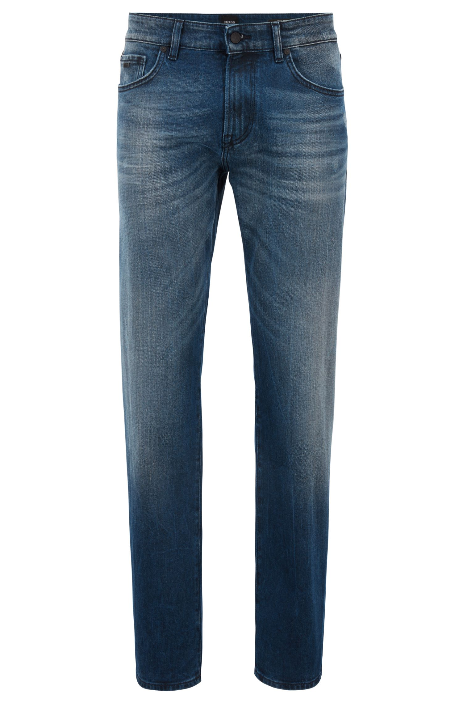 Jean Regular Fit bleu moyen en denim stretch enduit, Bleu