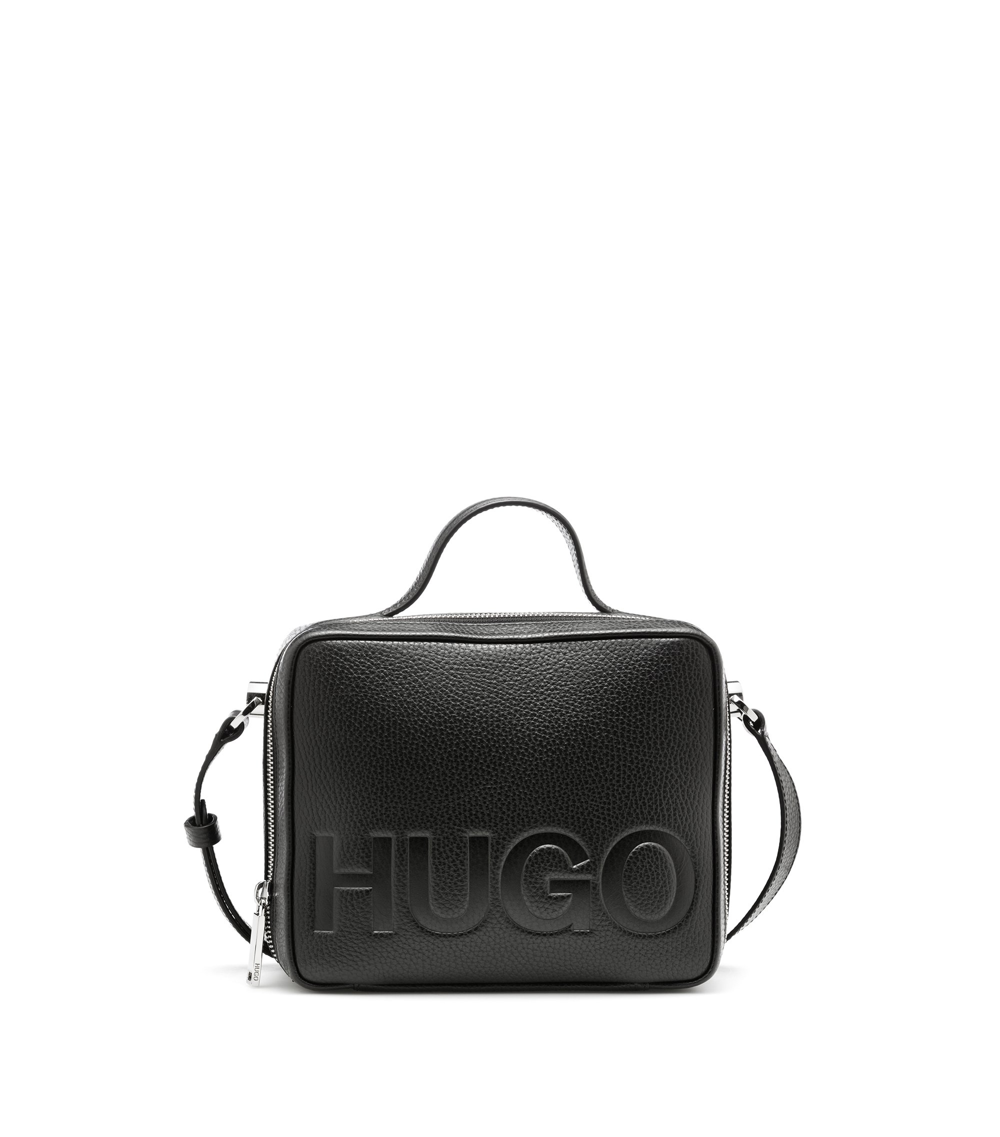 Leather shoulder bag with embossed logo, Black