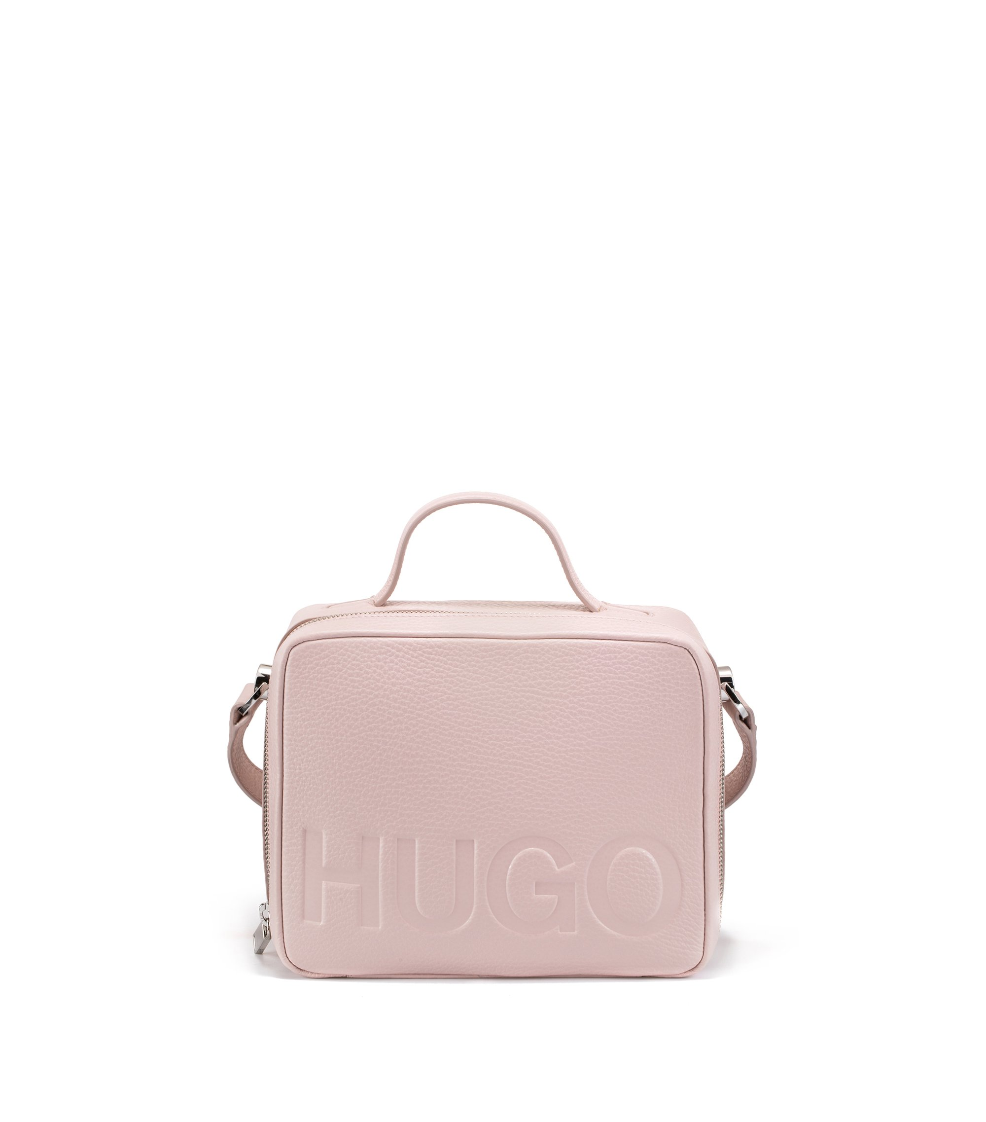 Leather shoulder bag with embossed logo, light pink