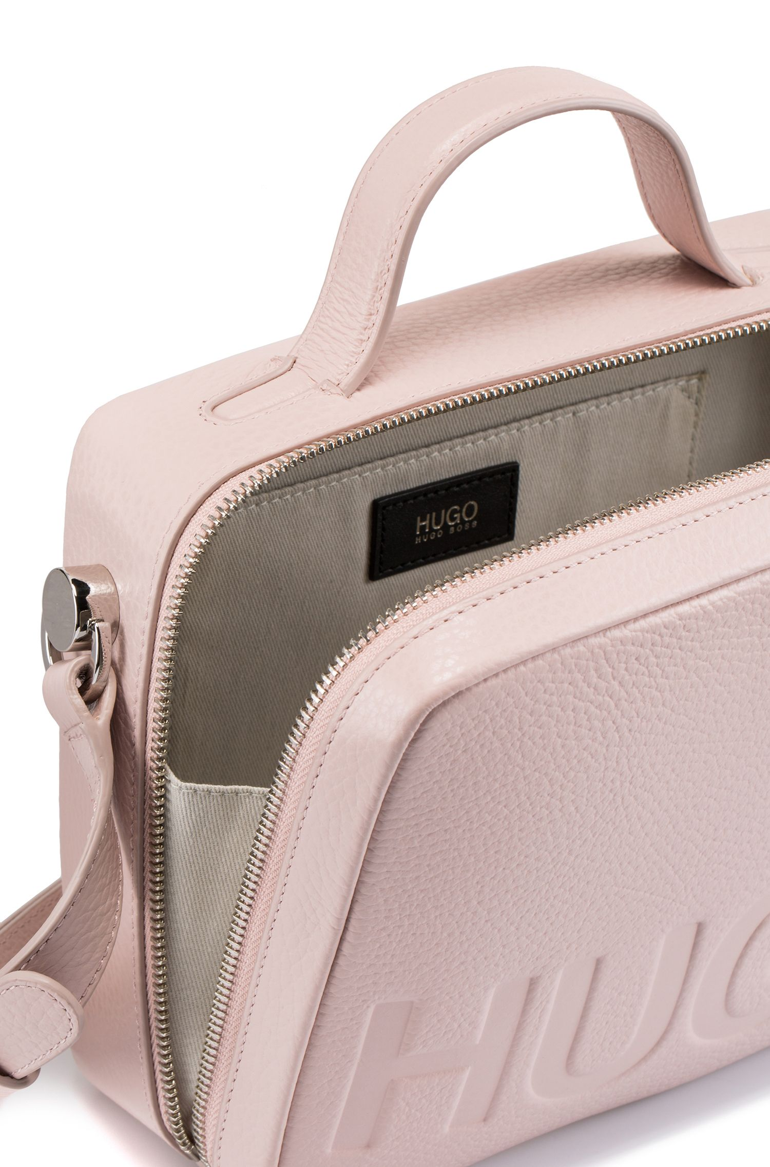 Leather shoulder bag with embossed logo, light pink