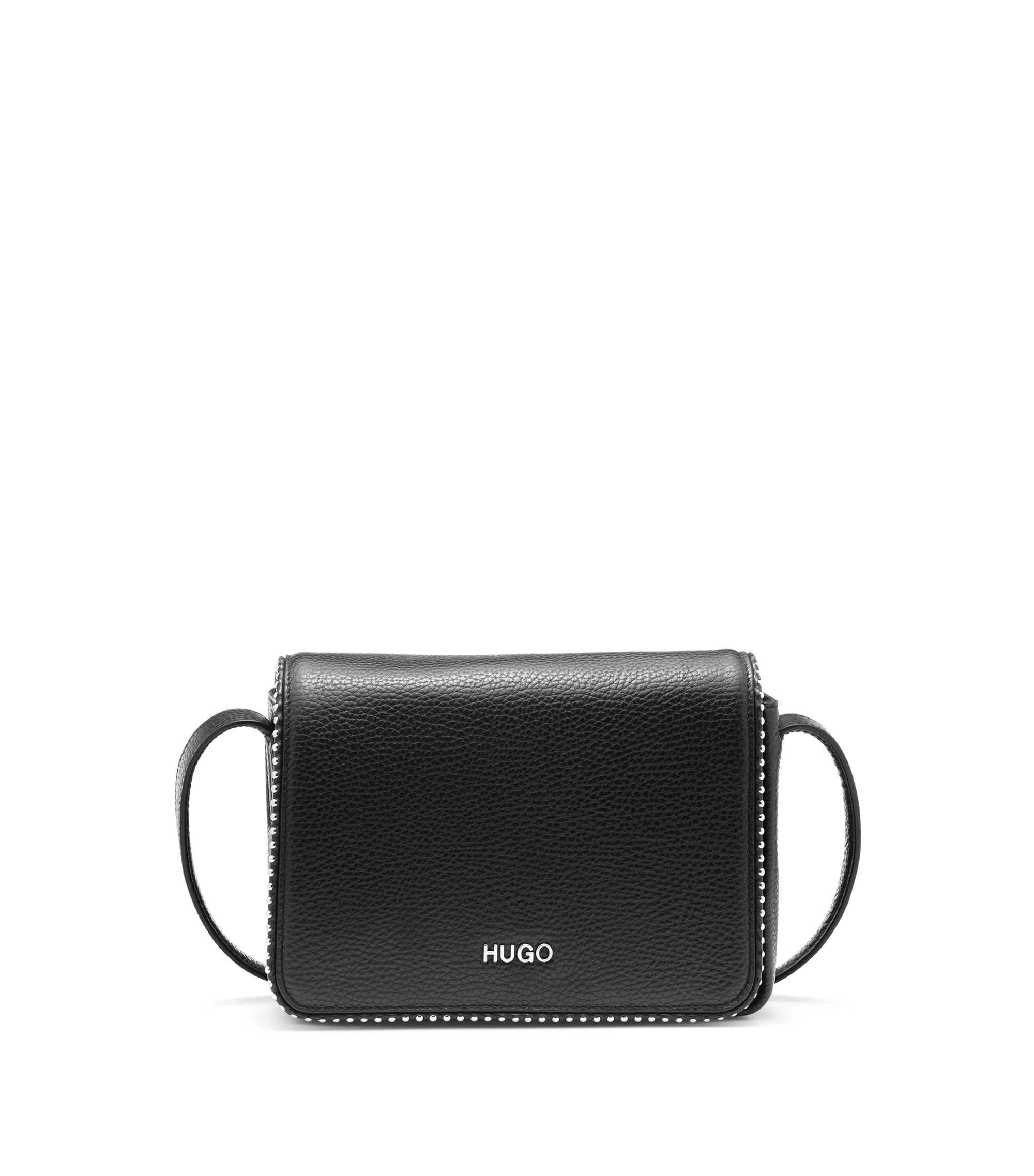 Leather cross-body bag with metal stud detailing, Black