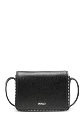 Leather Cross Body Bag With Metal Stud Detailing Black