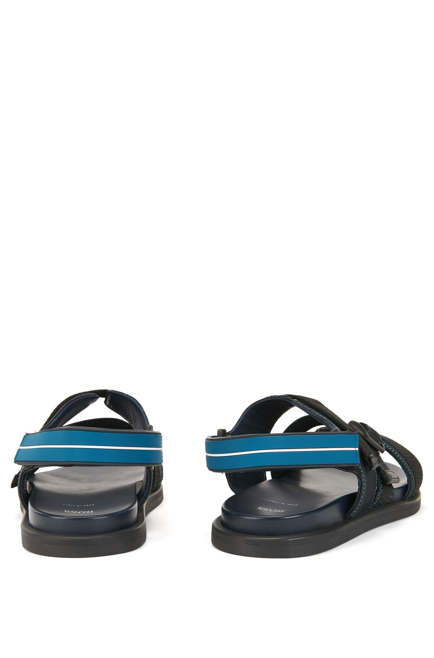 Italian-made calf-leather sandals with webbing detail, Black