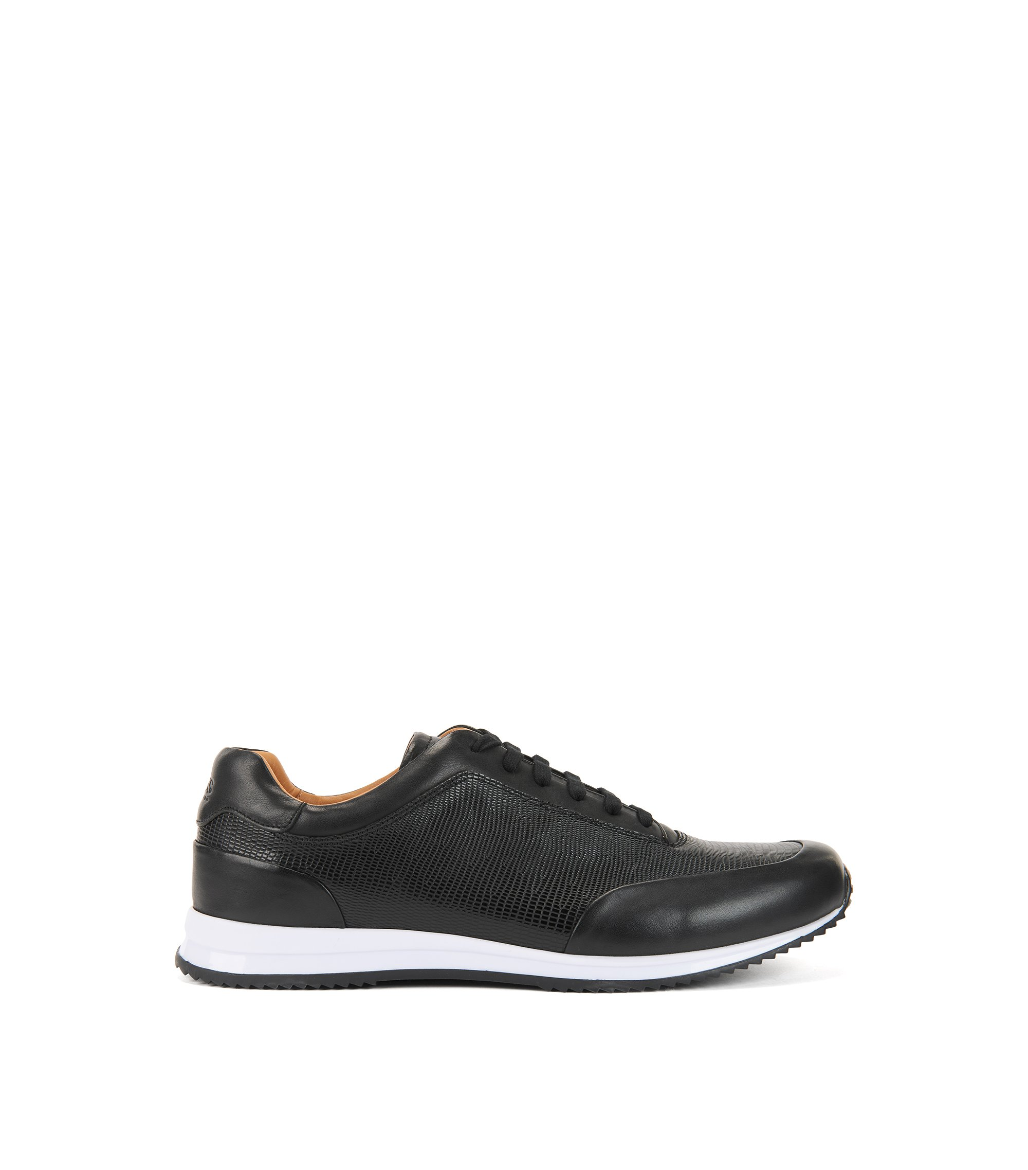 Lace-up trainers in printed calf leather, Black