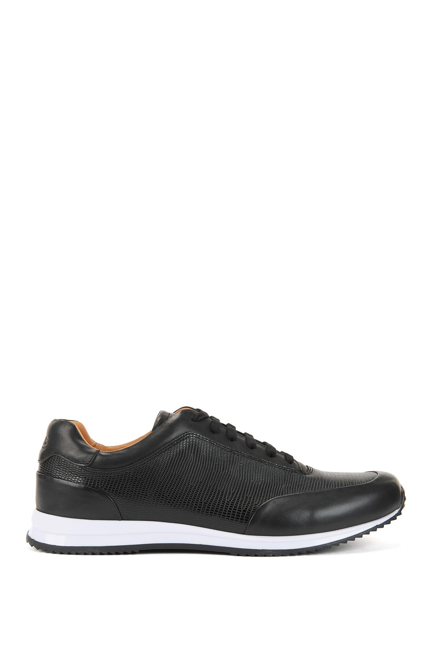 Sneakers aus geprägtem Leder mit Schnürung, Schwarz