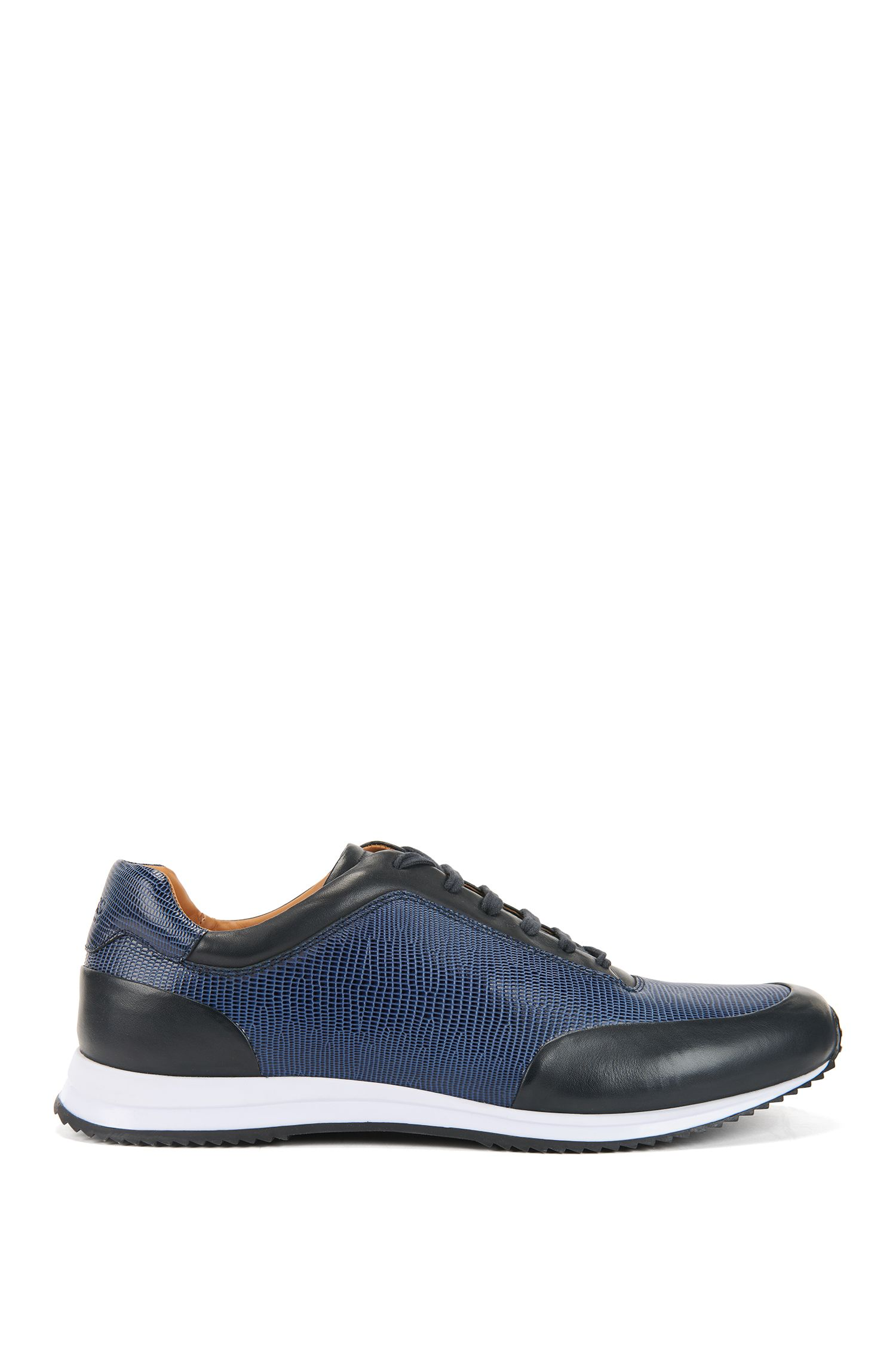 Lace-up trainers in printed calf leather, Dark Blue