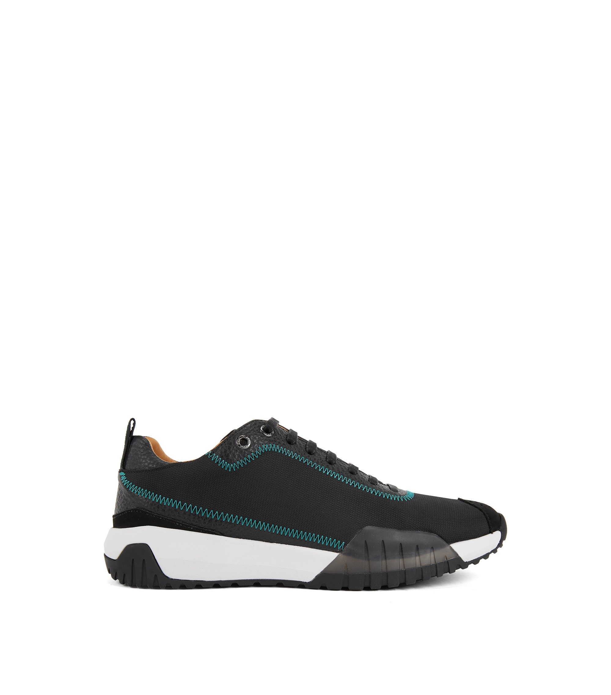 Low-top trainers in nylon with leather details, Black