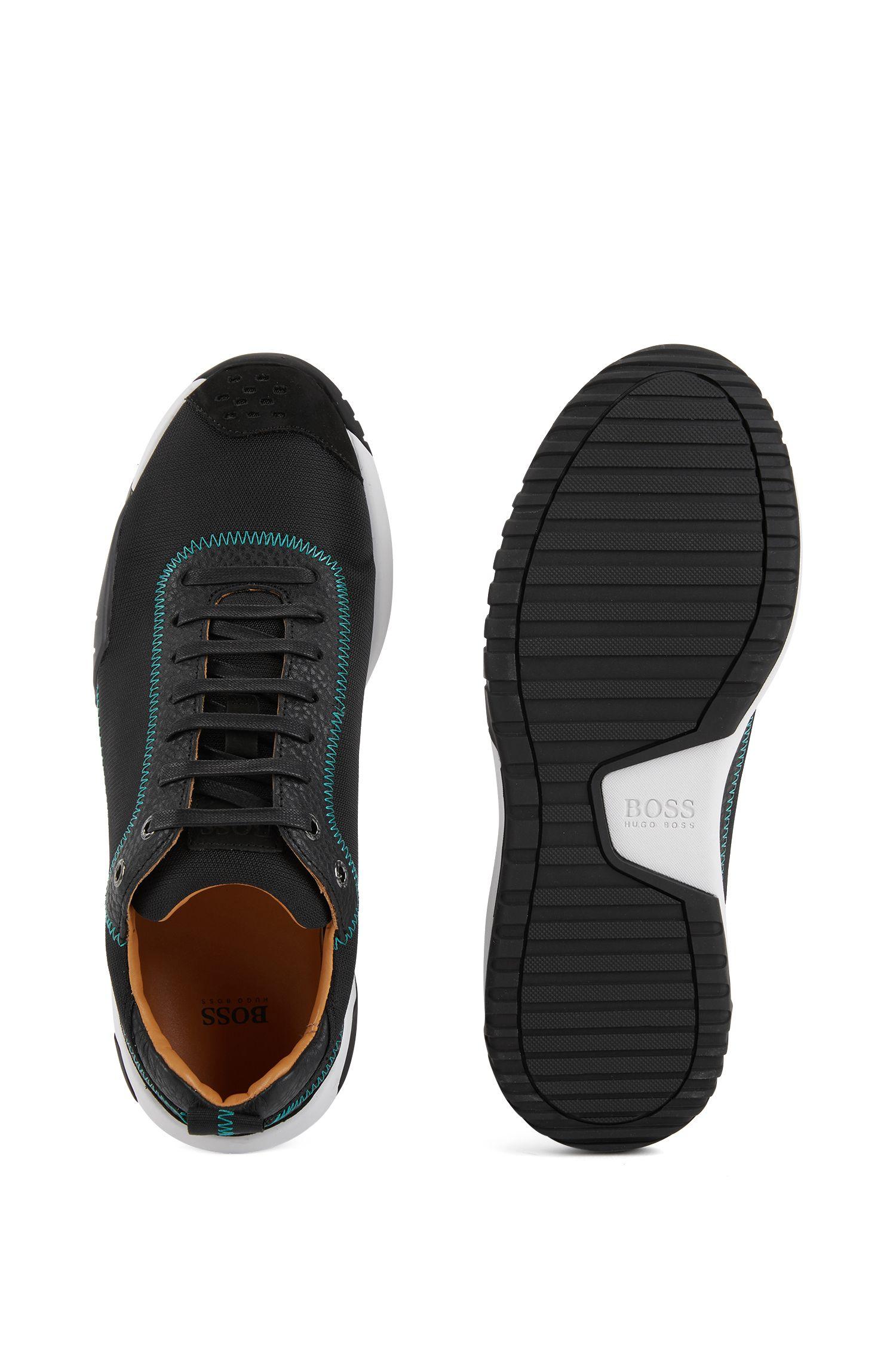 Baskets basses en tissu technique rehaussé de détails en cuir, Noir