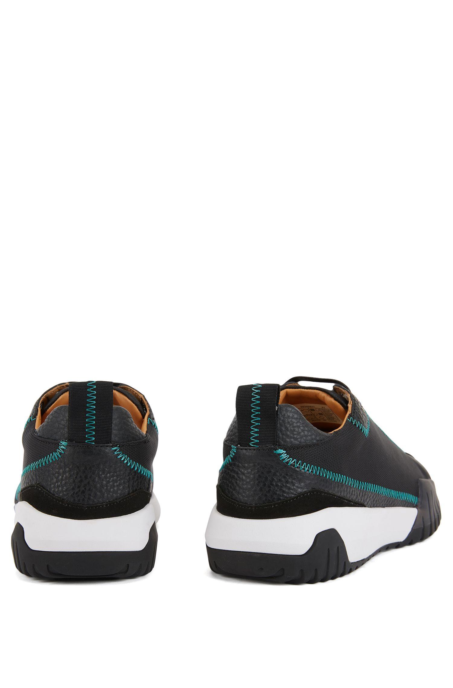 Lage sneakers van nylon met leerdetails, Zwart