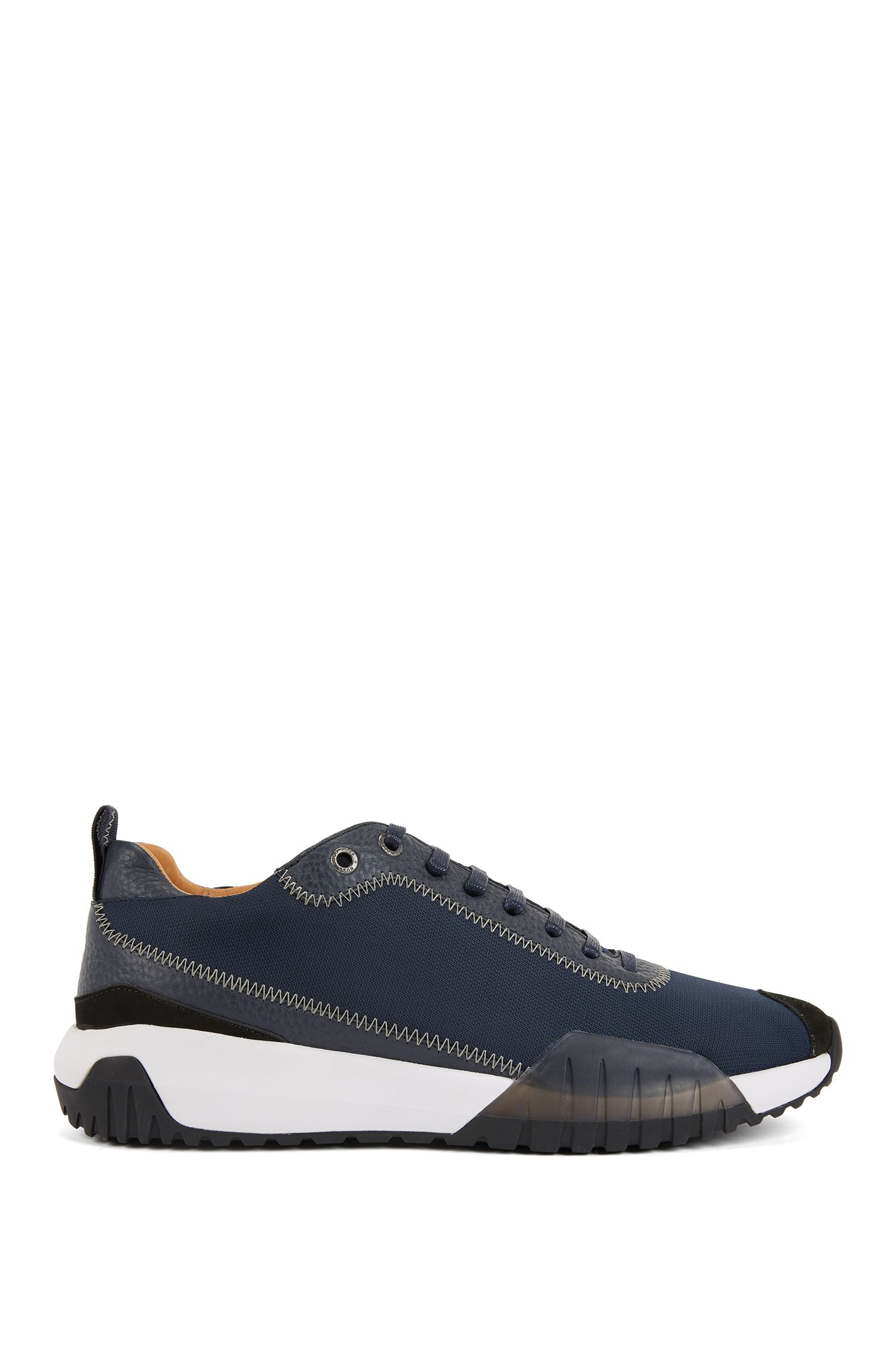 Low-top trainers in nylon with leather details, Dark Blue